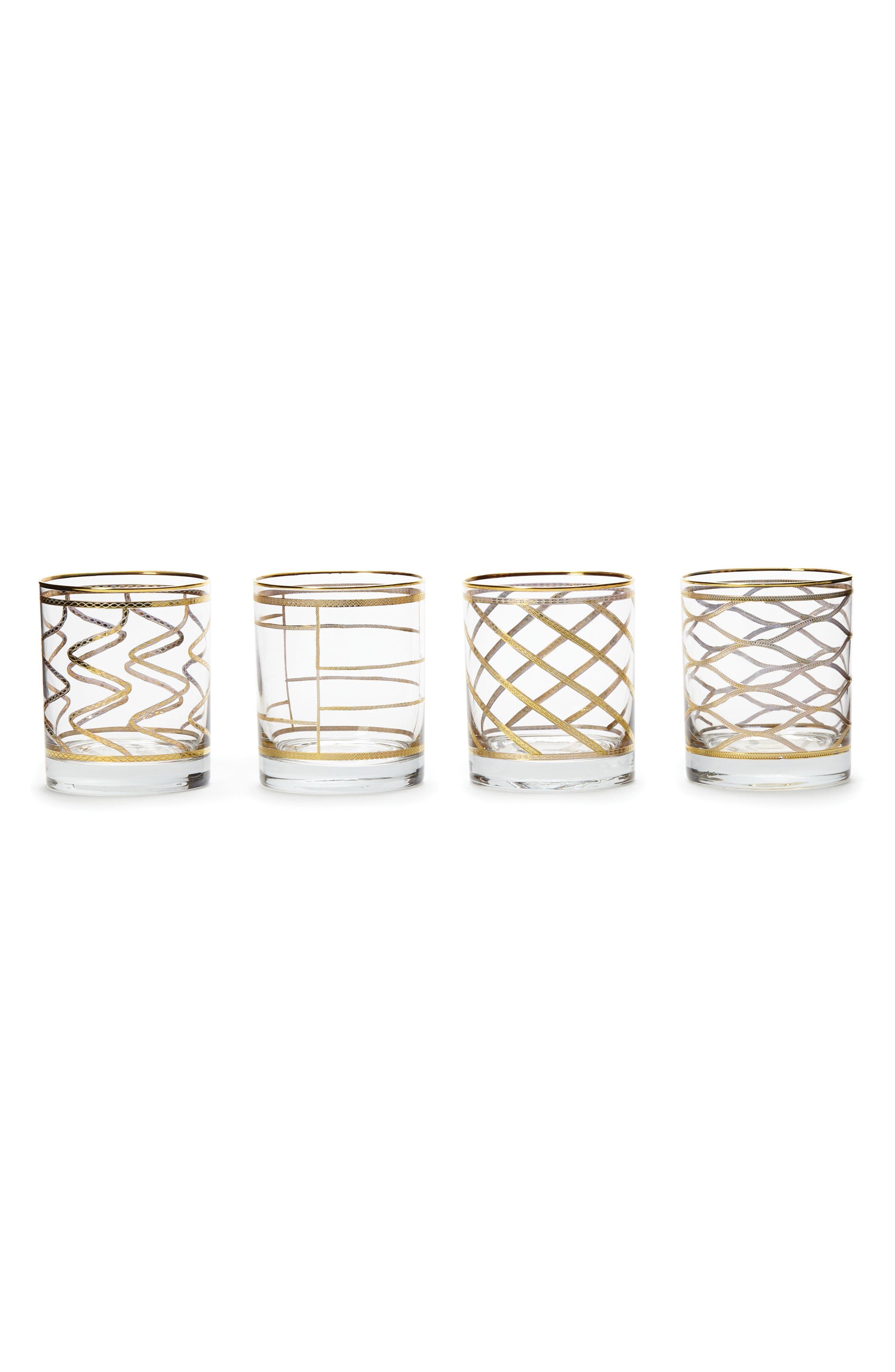 VIETRI Elegante Set of 4 Double Old Fashioned Glasses