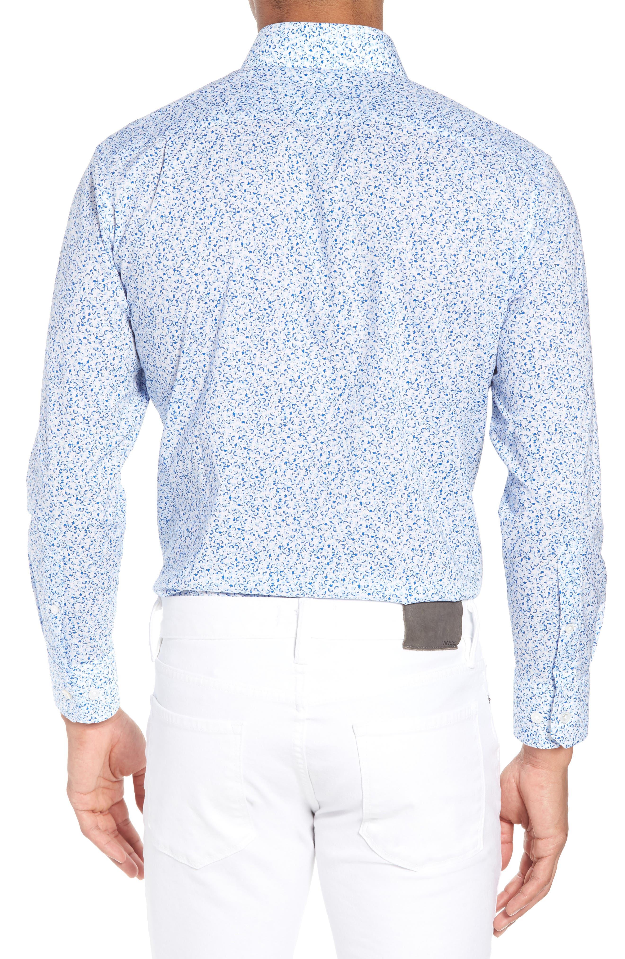 Jetsetter Slim Fit Floral Dress Shirt,                             Alternate thumbnail 3, color,                             Lapis Blue