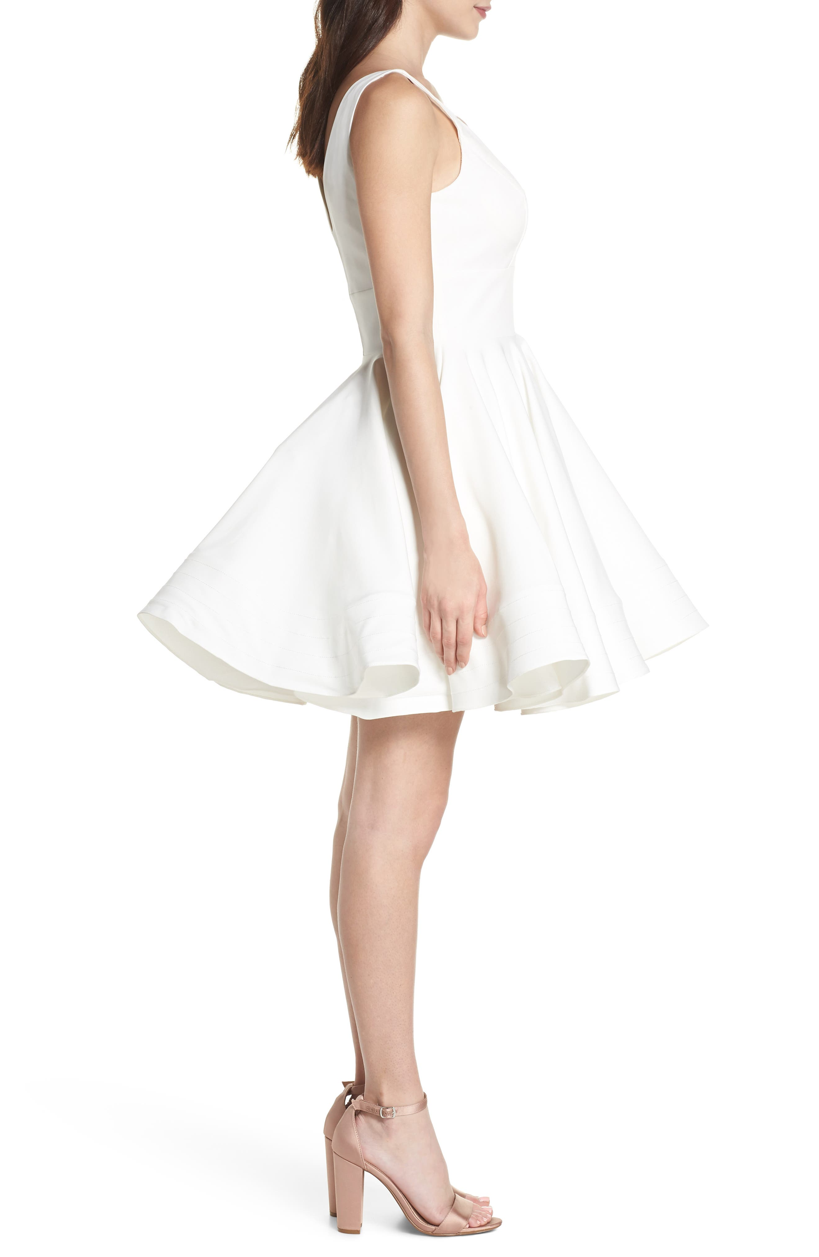 Double V-Neck Fit & Flare Party Dress,                             Alternate thumbnail 3, color,                             Ivory