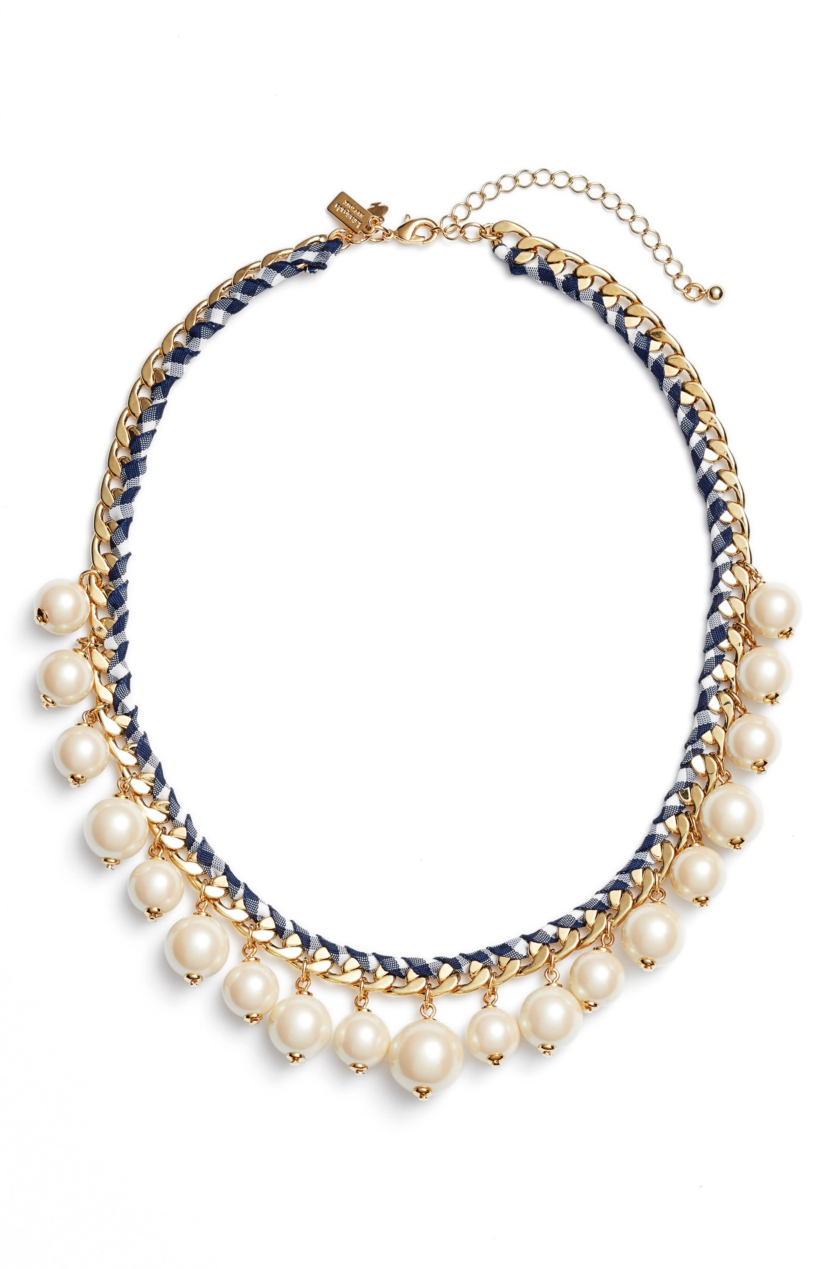 pretty pearly imitation pearl necklace,                         Main,                         color, Navy Multi