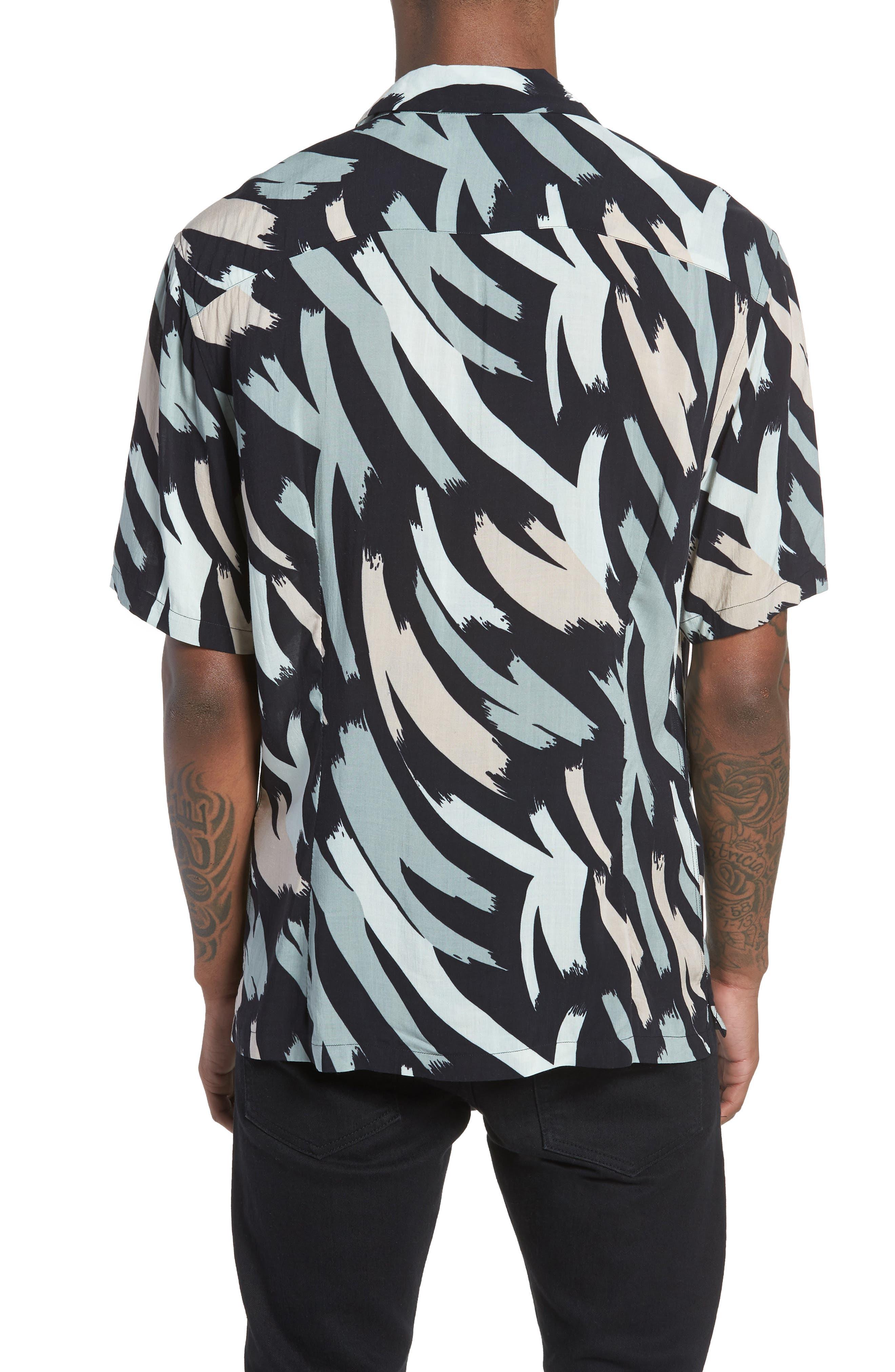 Rope Slim Fit Short Sleeve Sport Shirt,                             Alternate thumbnail 3, color,                             Black Camo