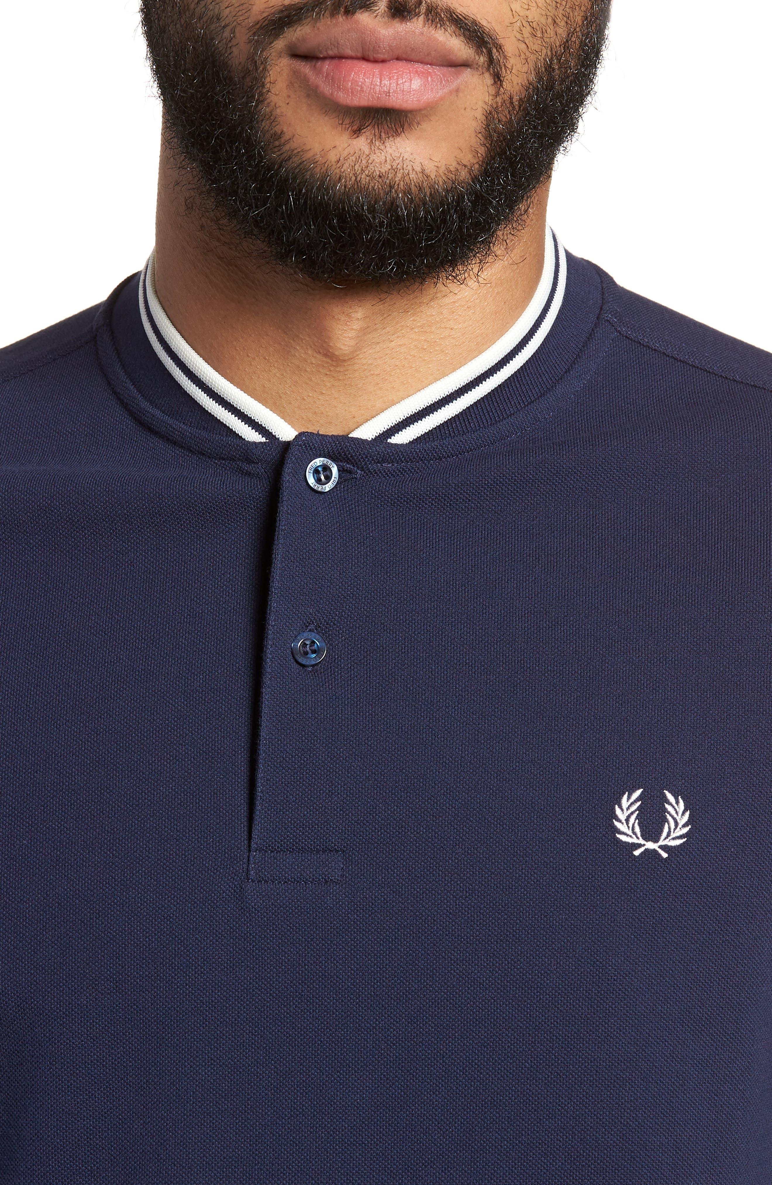 Bomber Collar Piqué Shirt,                             Alternate thumbnail 4, color,                             Carbon Blue