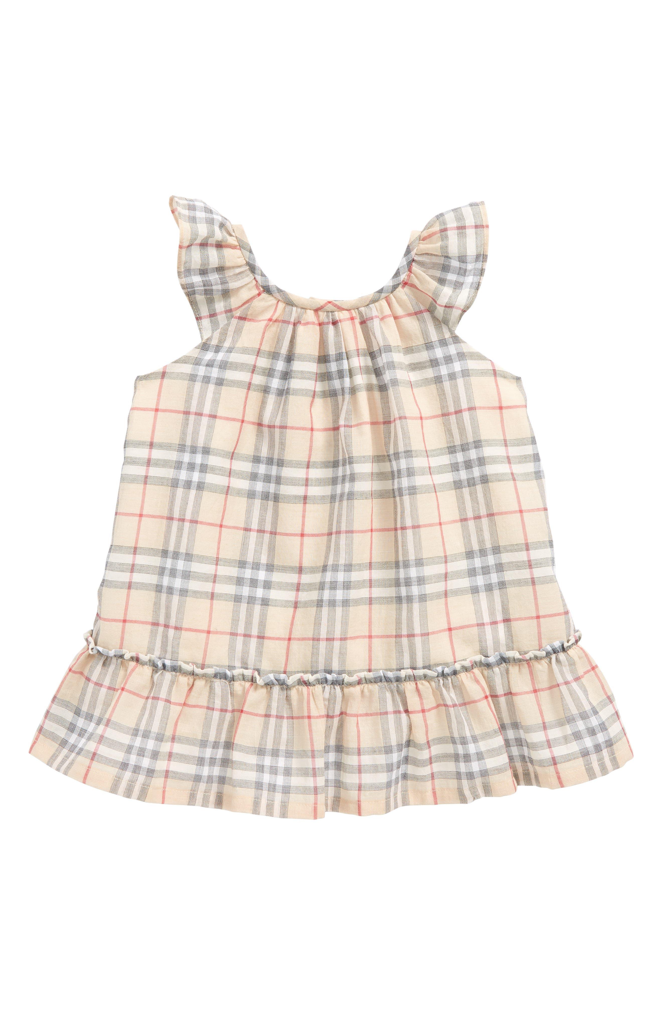 Main Image - Burberry Tania Check Dress (Baby Girls)
