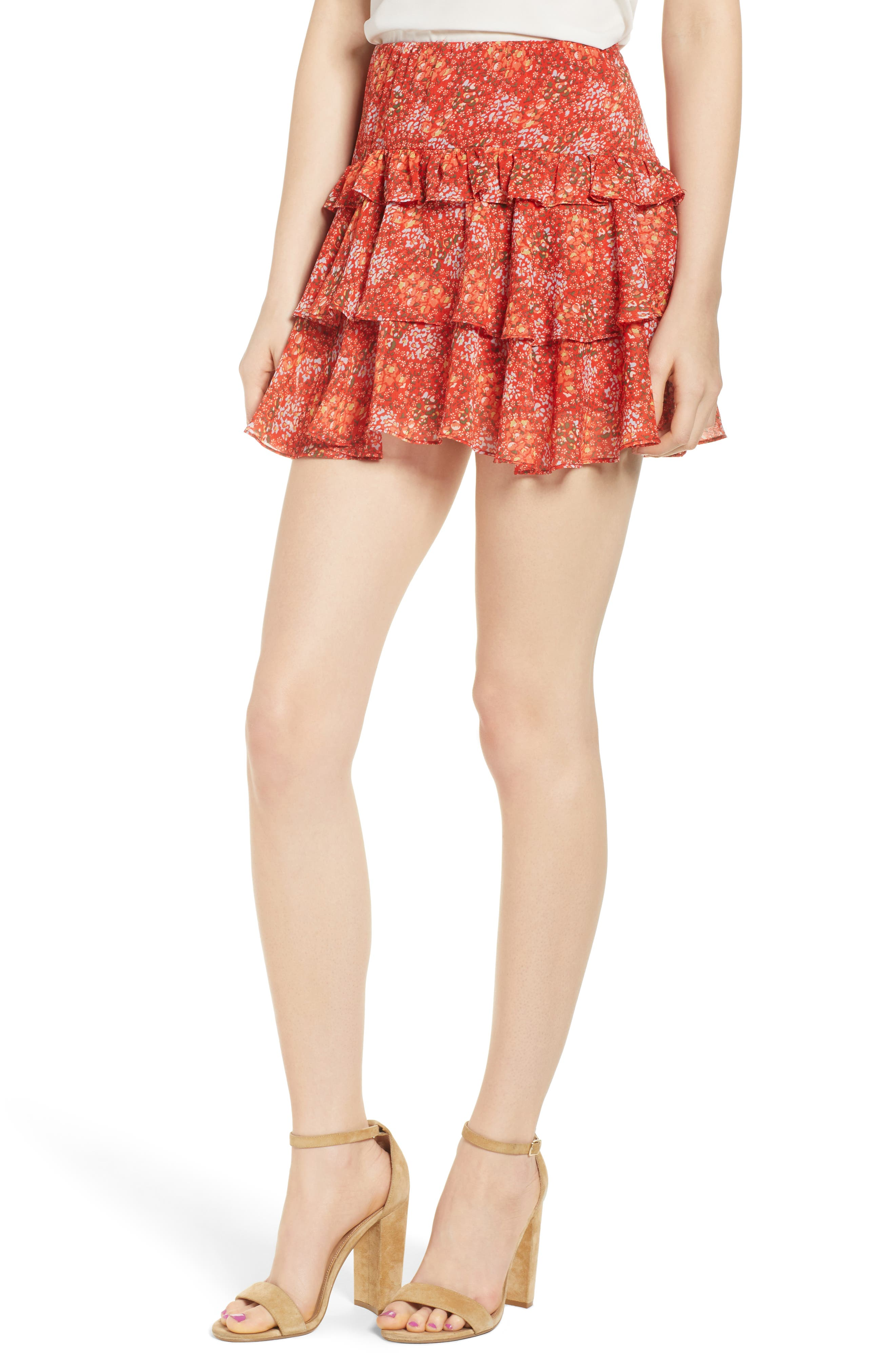 Phoebe Floral Tiered Miniskirt,                             Main thumbnail 1, color,                             Red Multi