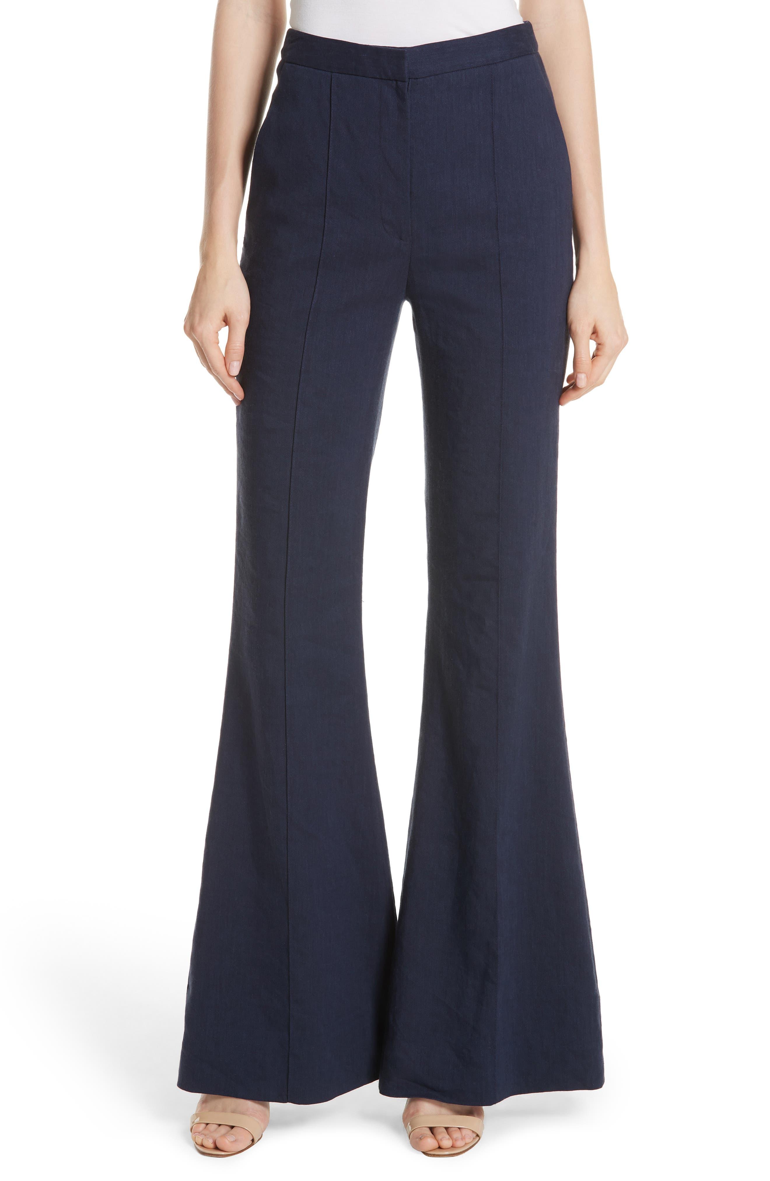 Diane von Furstenberg Pleat Front Flare Stretch Linen Blend Pants,                         Main,                         color, New Navy