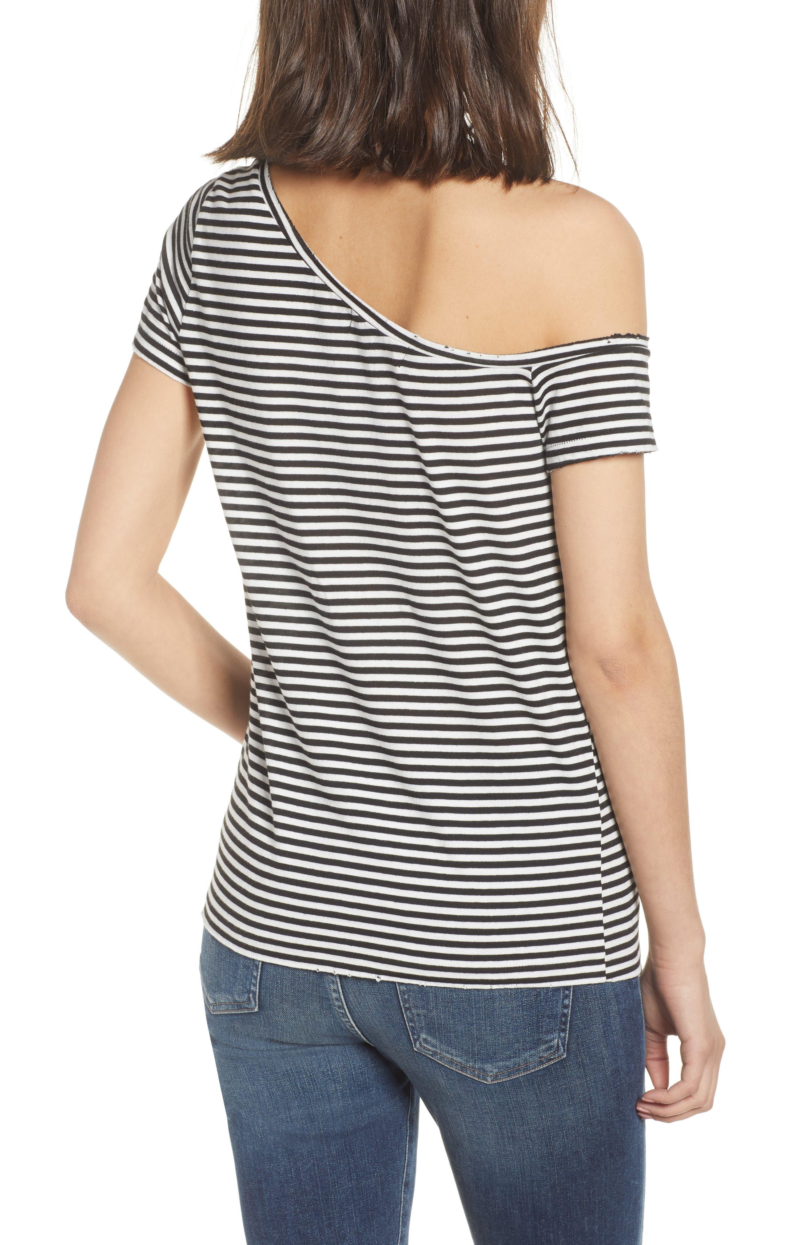 Dorado Stripe One-Shoulder Tee,                             Alternate thumbnail 2, color,                             Black Cat/ White Stripe