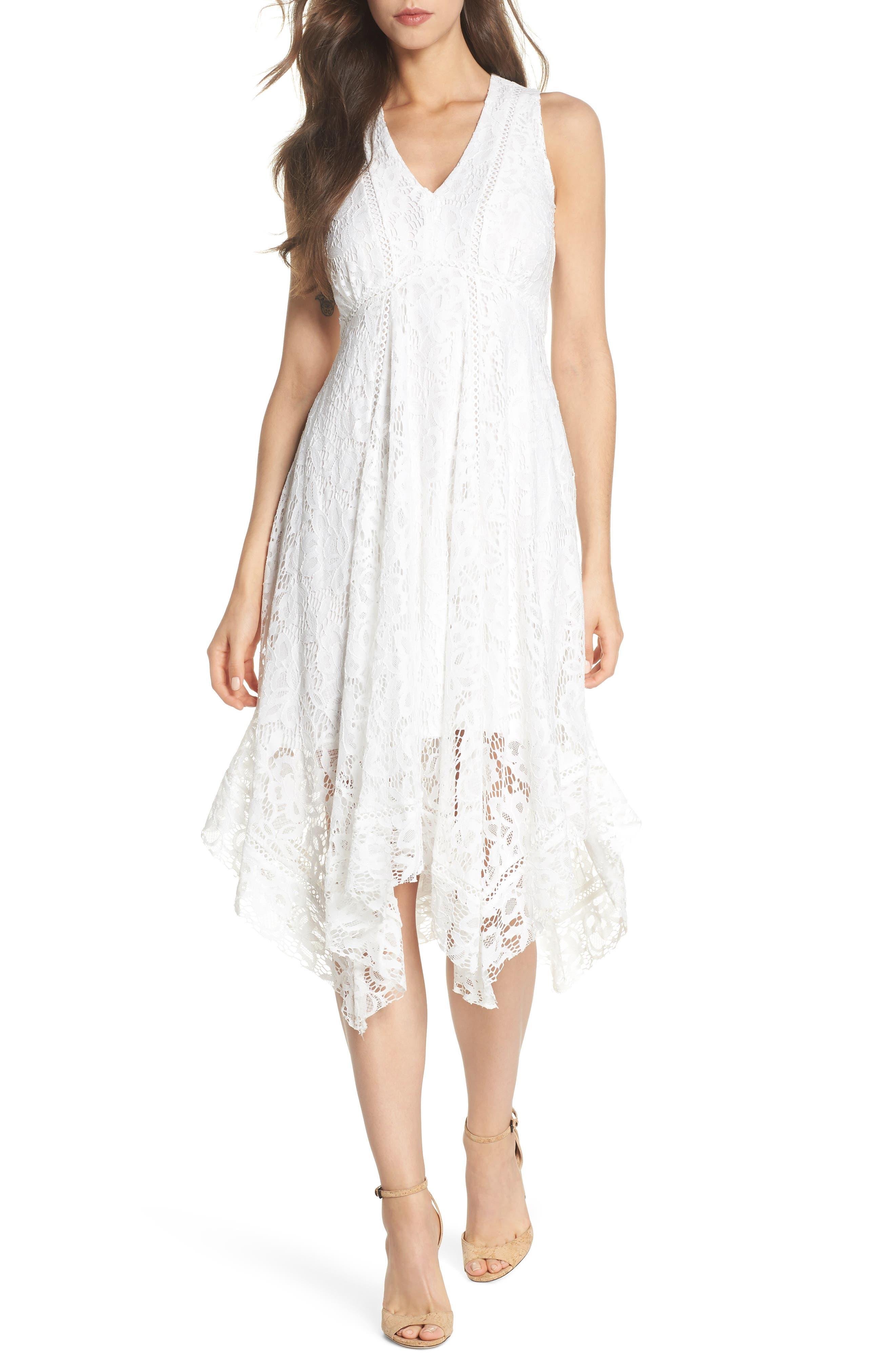 Lace Midi Dress,                             Main thumbnail 1, color,                             Ivory