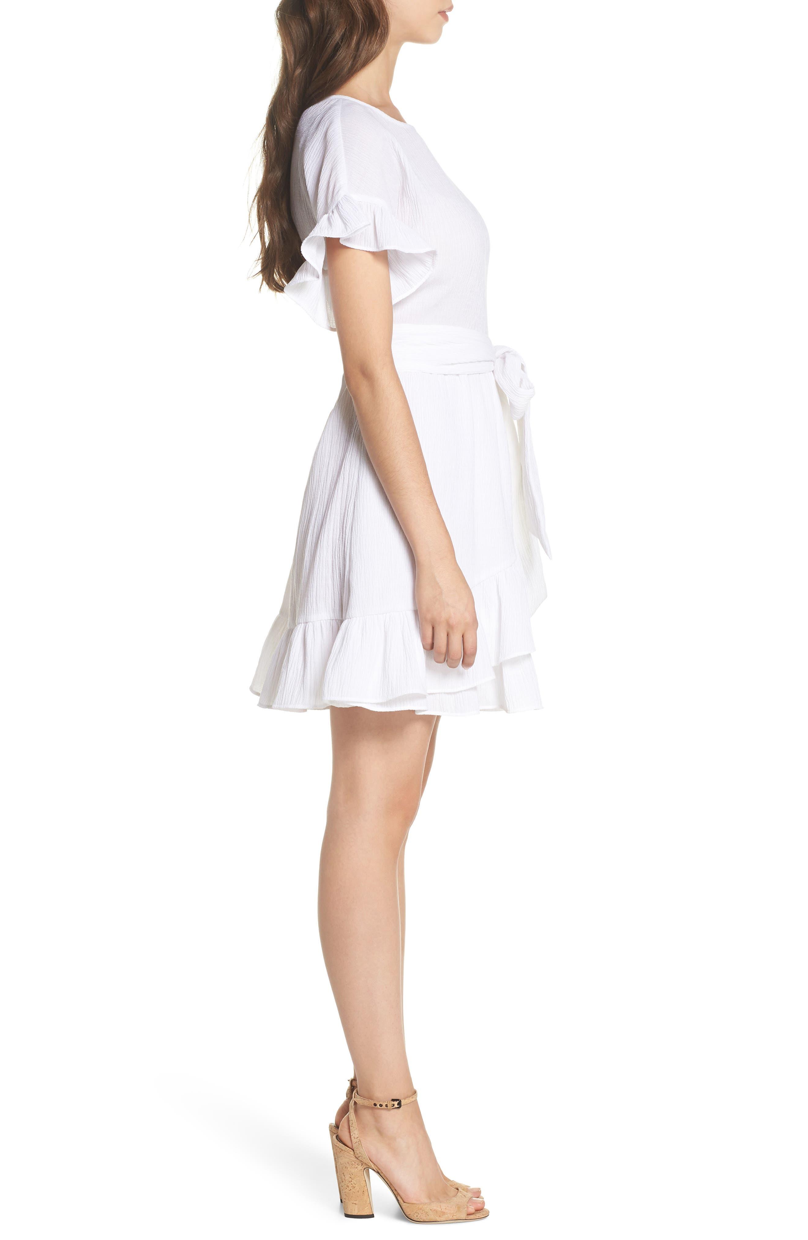 Ruffle Dress,                             Alternate thumbnail 3, color,                             White