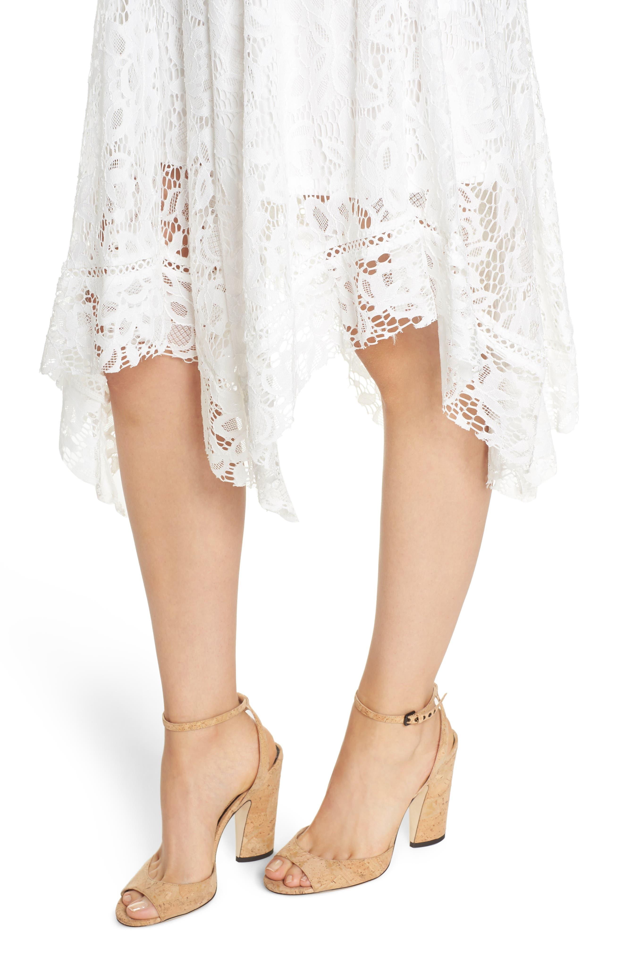 Lace Midi Dress,                             Alternate thumbnail 4, color,                             Ivory