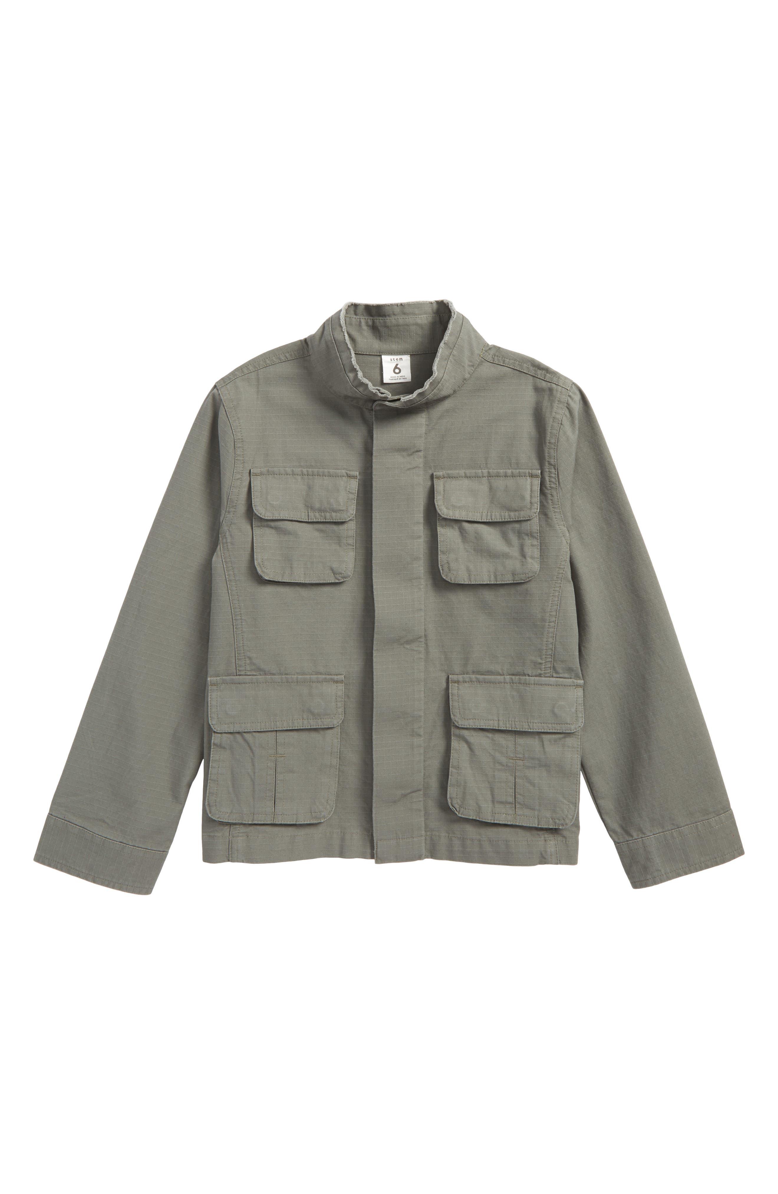 Canvas Utility Jacket,                             Main thumbnail 1, color,                             Green Agave