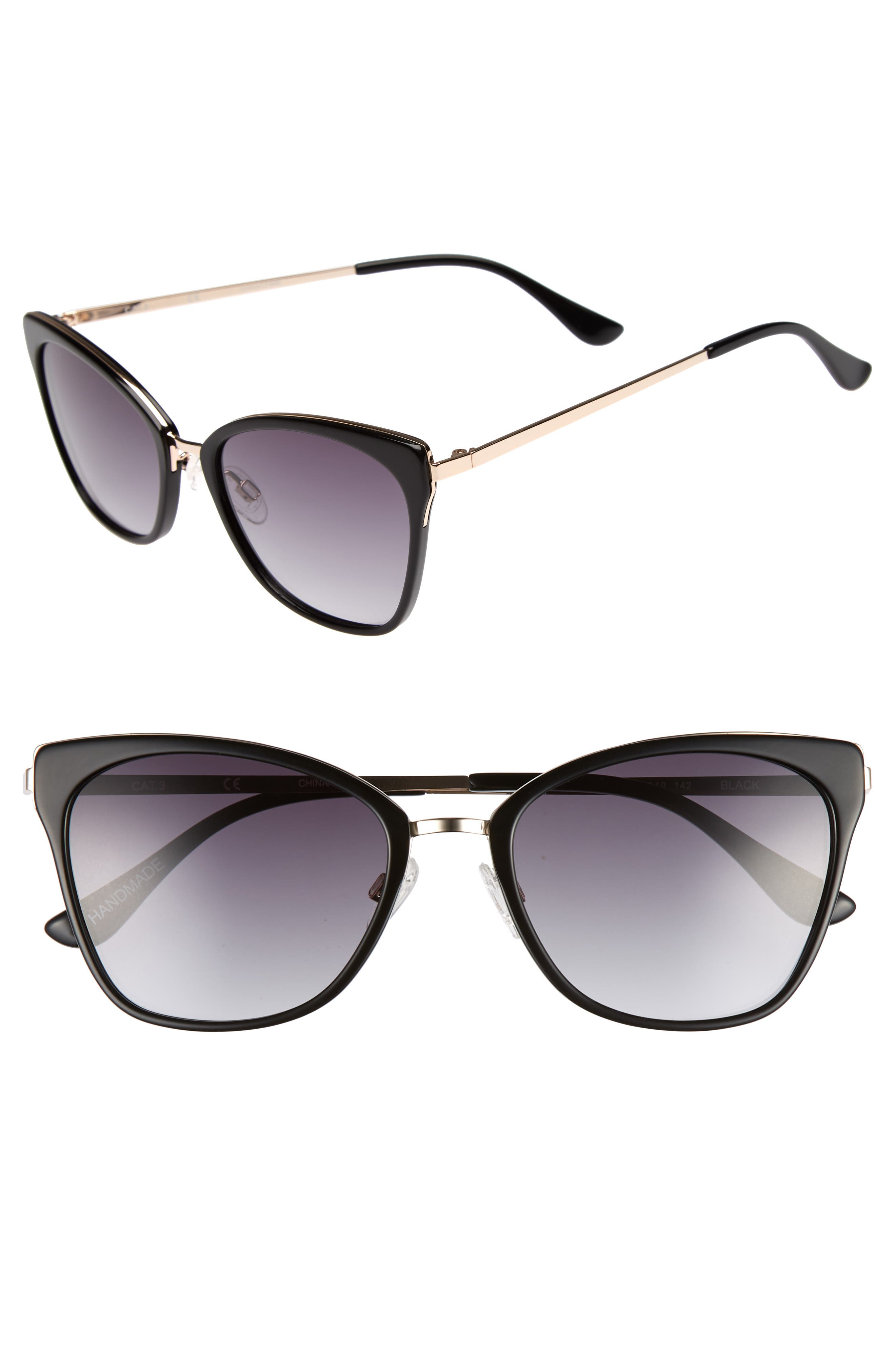 Origami 55mm Cat Eye Sunglasses,                             Main thumbnail 1, color,                             Black