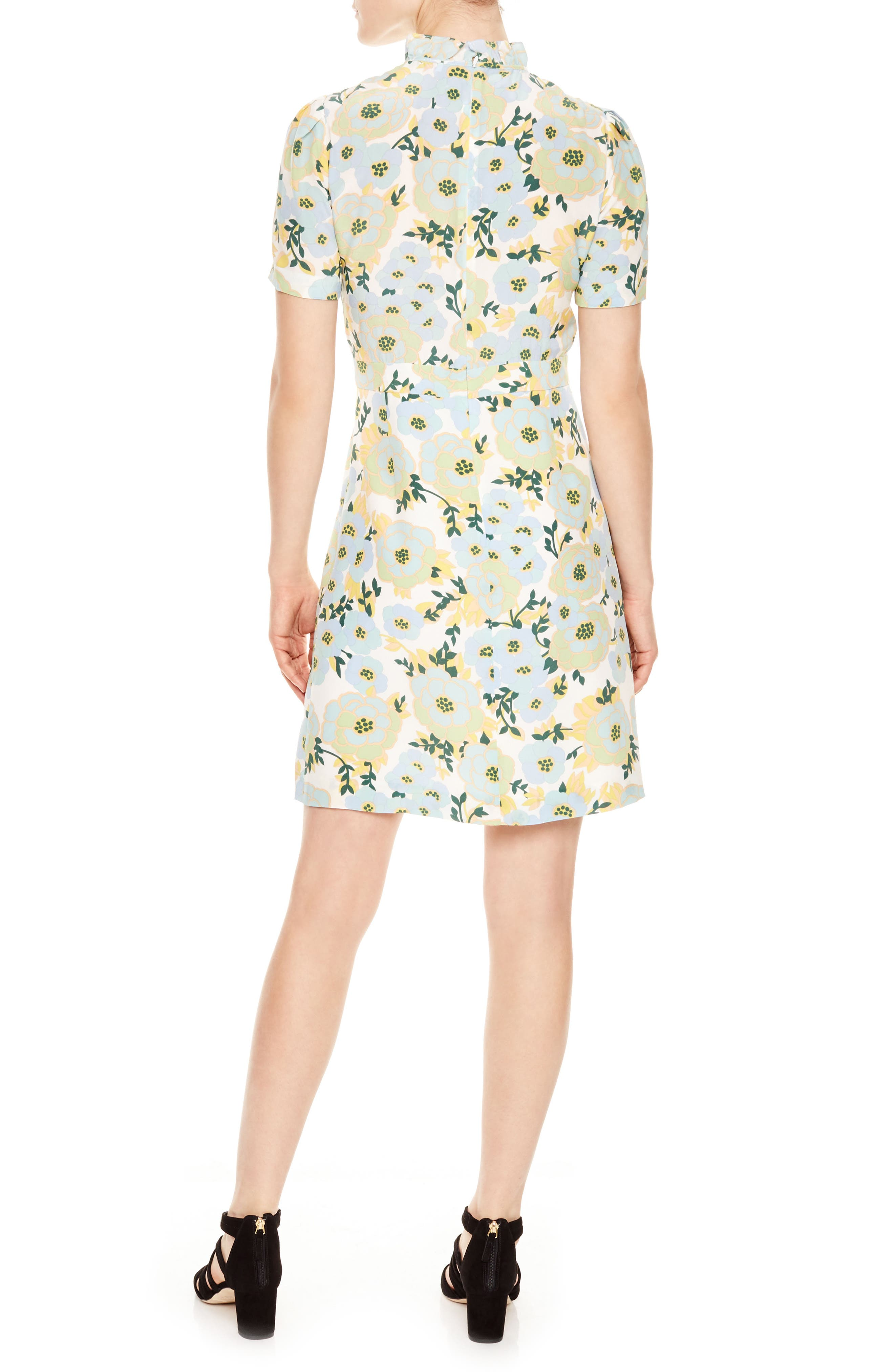 Floral A-Line Silk Dress,                             Alternate thumbnail 2, color,                             Green