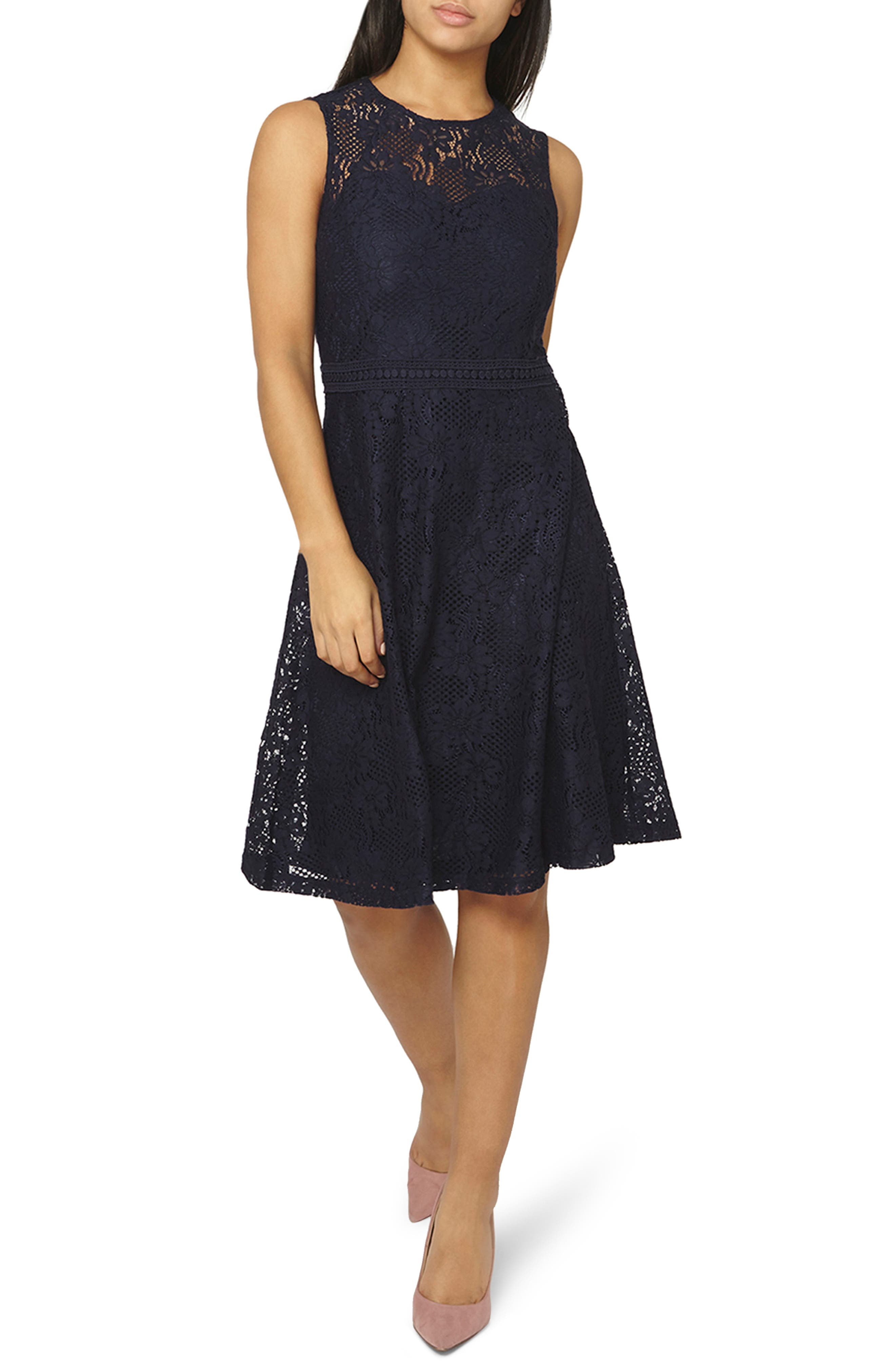 Adele Lace Fit & Flare Dress,                             Main thumbnail 1, color,                             Navy