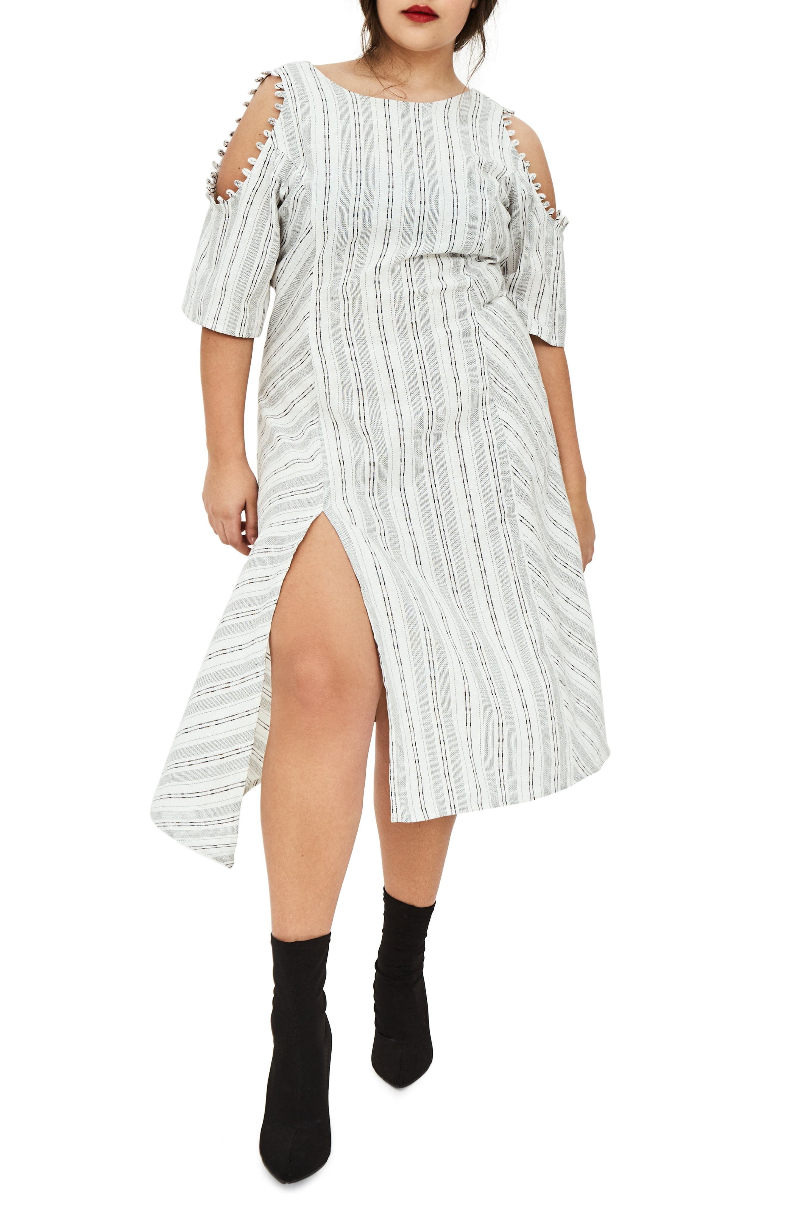 ELVI The Masago Stripe Cold Shoulder Dress (Regular & Plus Size)