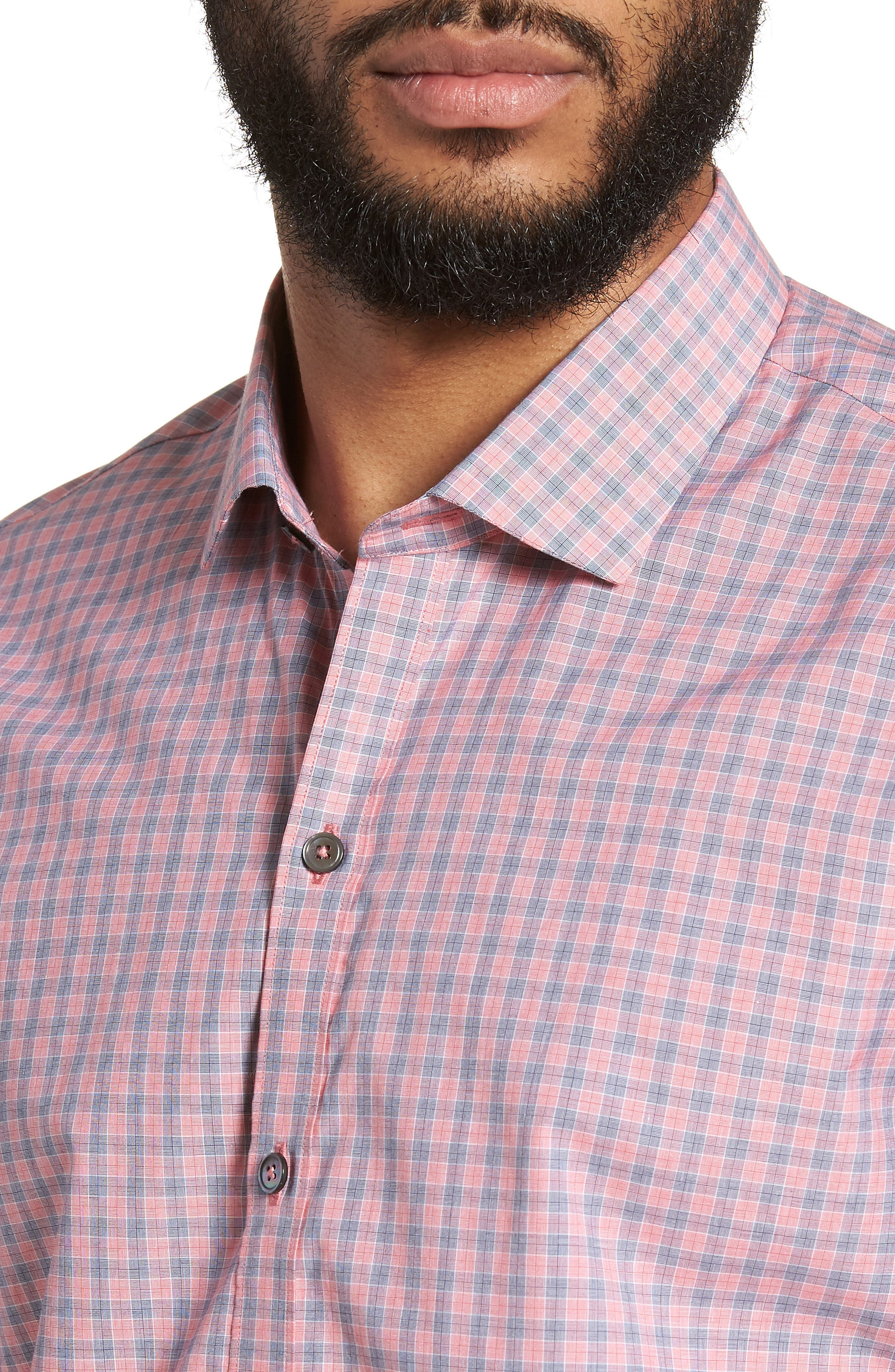 Sherif Regular Fit Sport Shirt,                             Alternate thumbnail 4, color,                             Faded Red