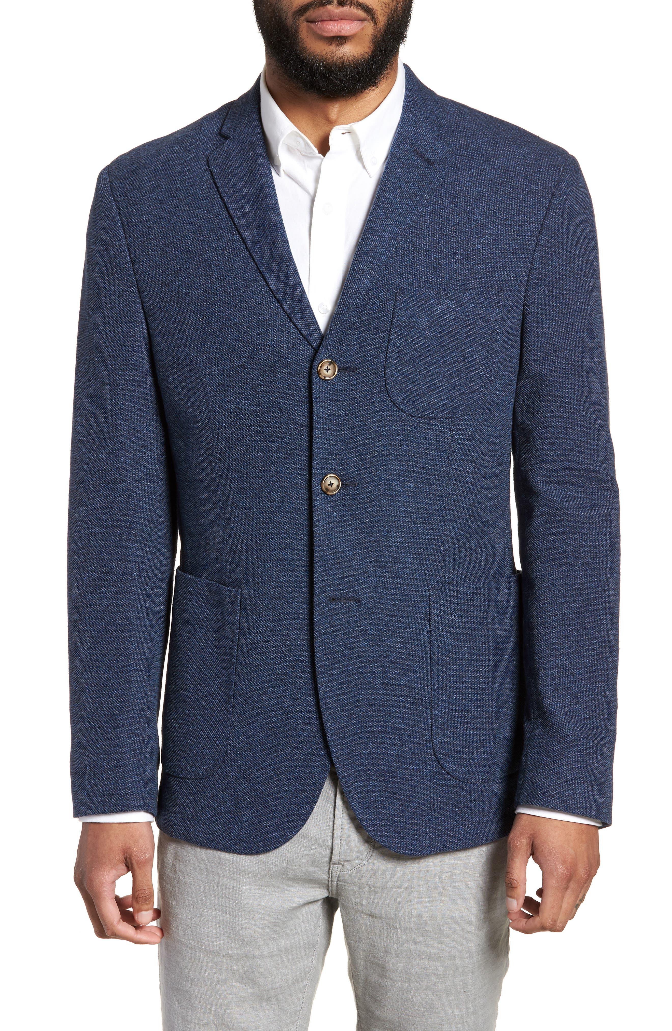 Trim Fit Cotton Blend Blazer,                             Main thumbnail 1, color,                             Mid Blue