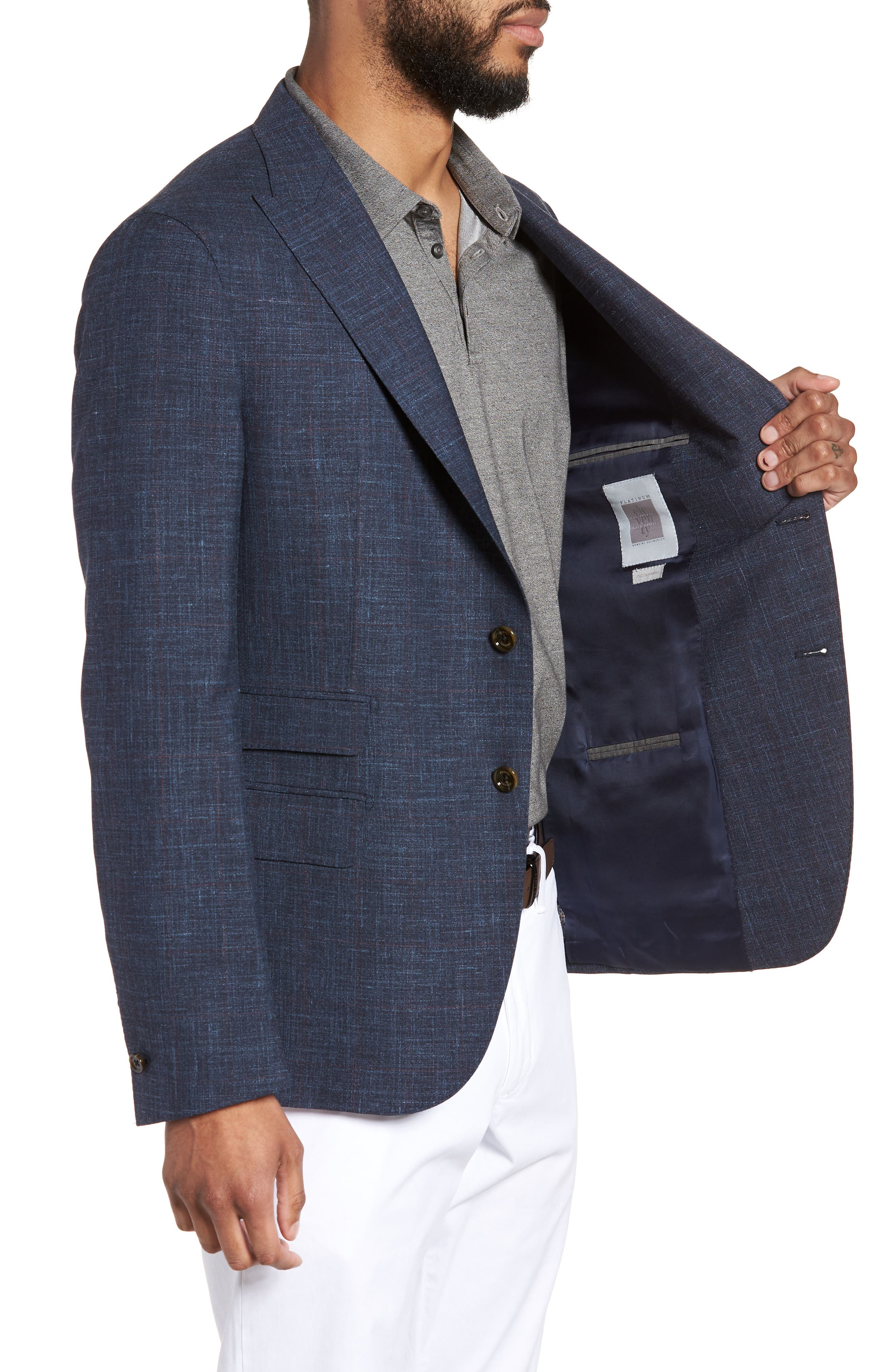 Trim Fit Wool Blend Blazer,                             Alternate thumbnail 4, color,                             Denim Blue