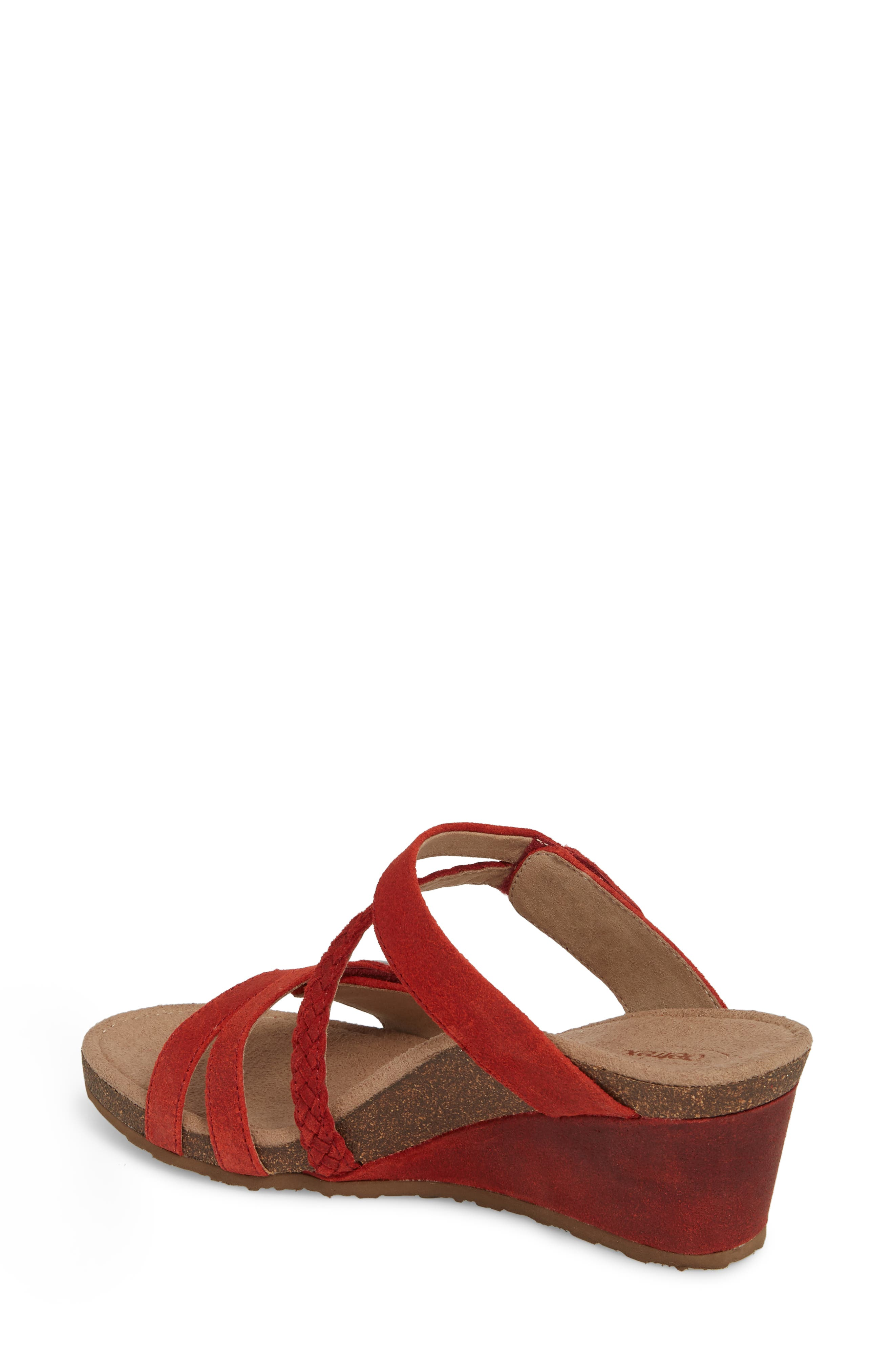 Lydia Strappy Wedge Sandal,                             Alternate thumbnail 2, color,                             Cayenne Leather