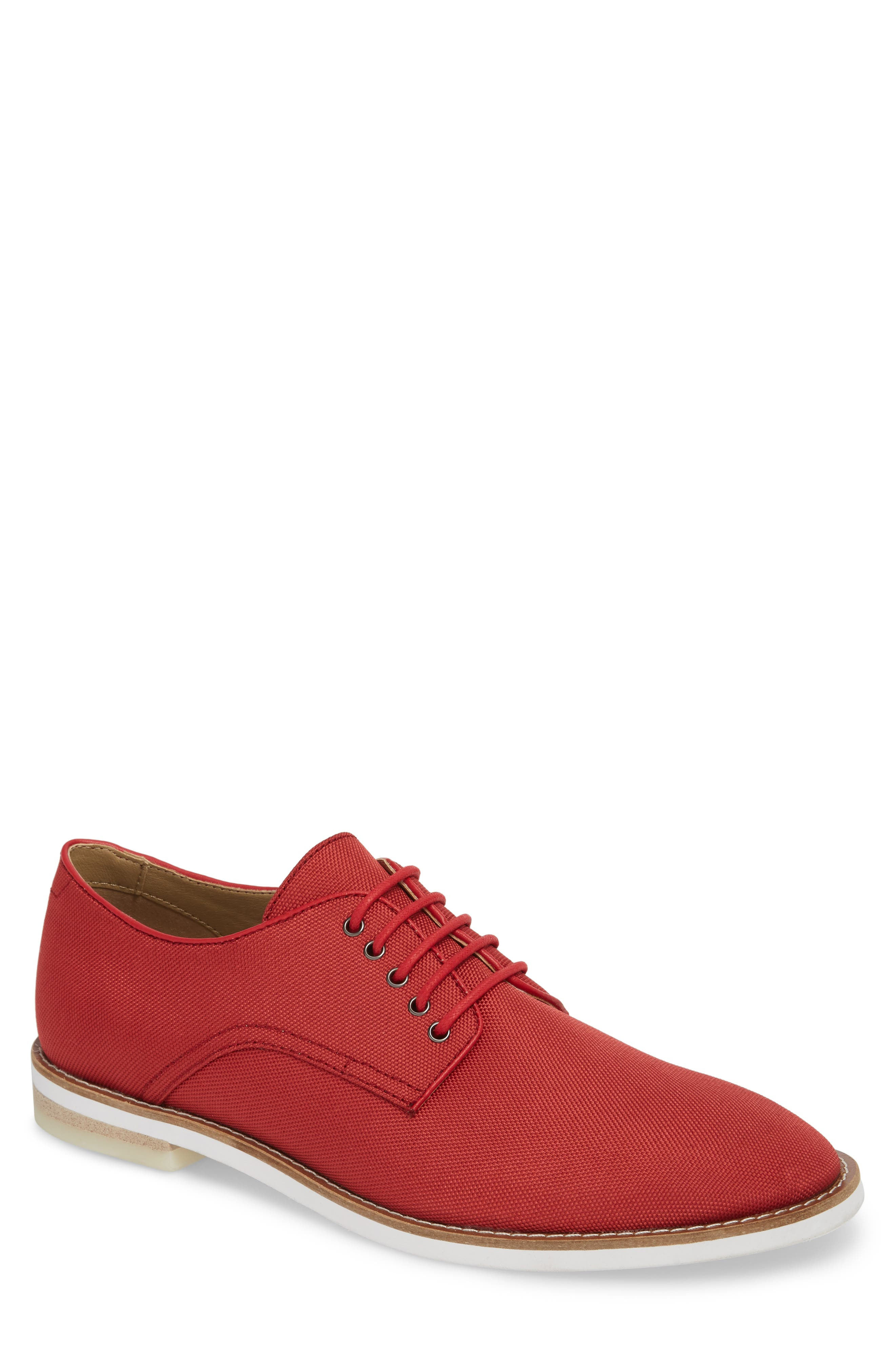 Atlee Plain Toe Derby,                         Main,                         color, Brick Red Nylon
