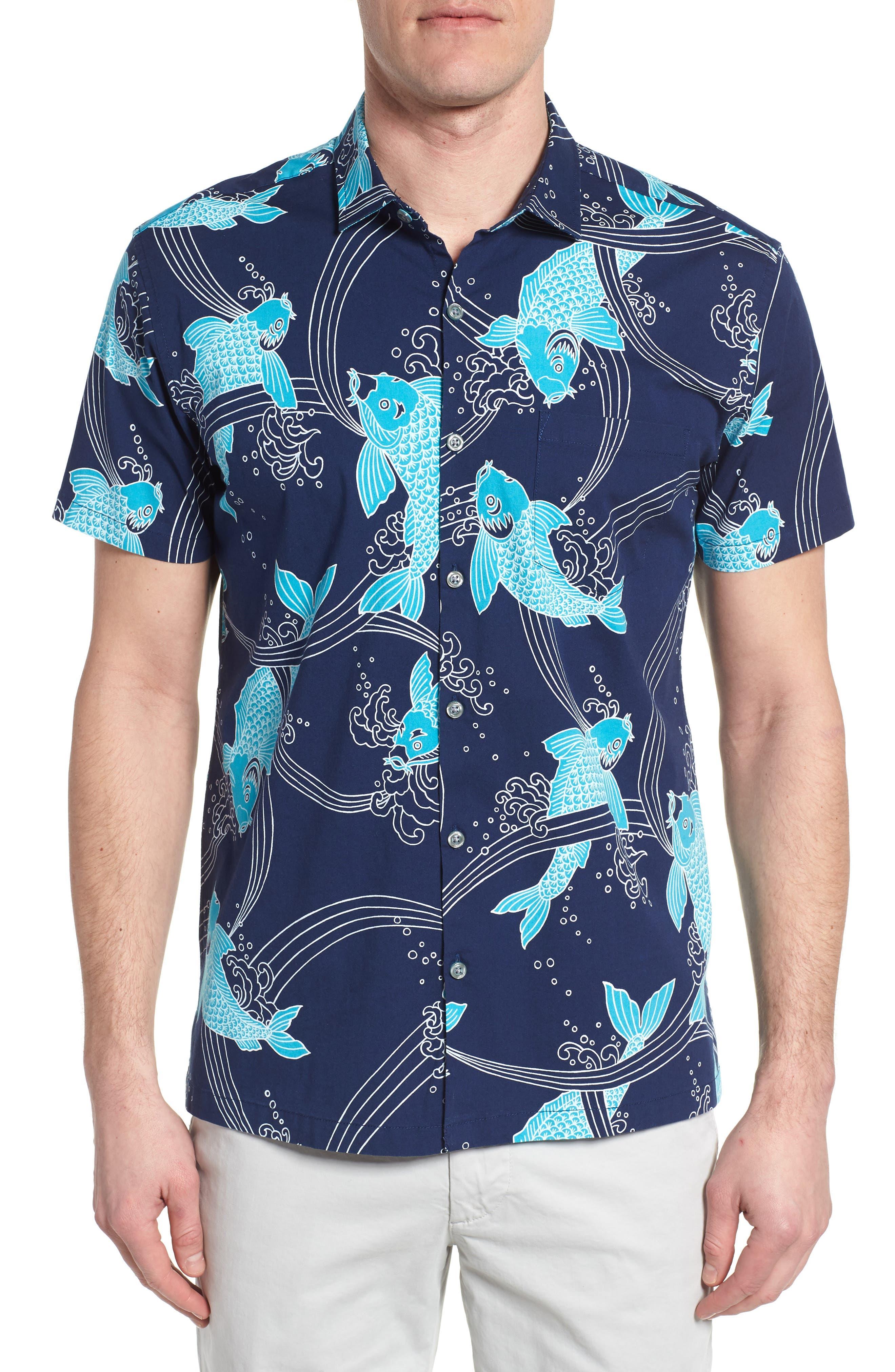 Koi Cabana Trim Fit Camp Shirt,                         Main,                         color, Navy