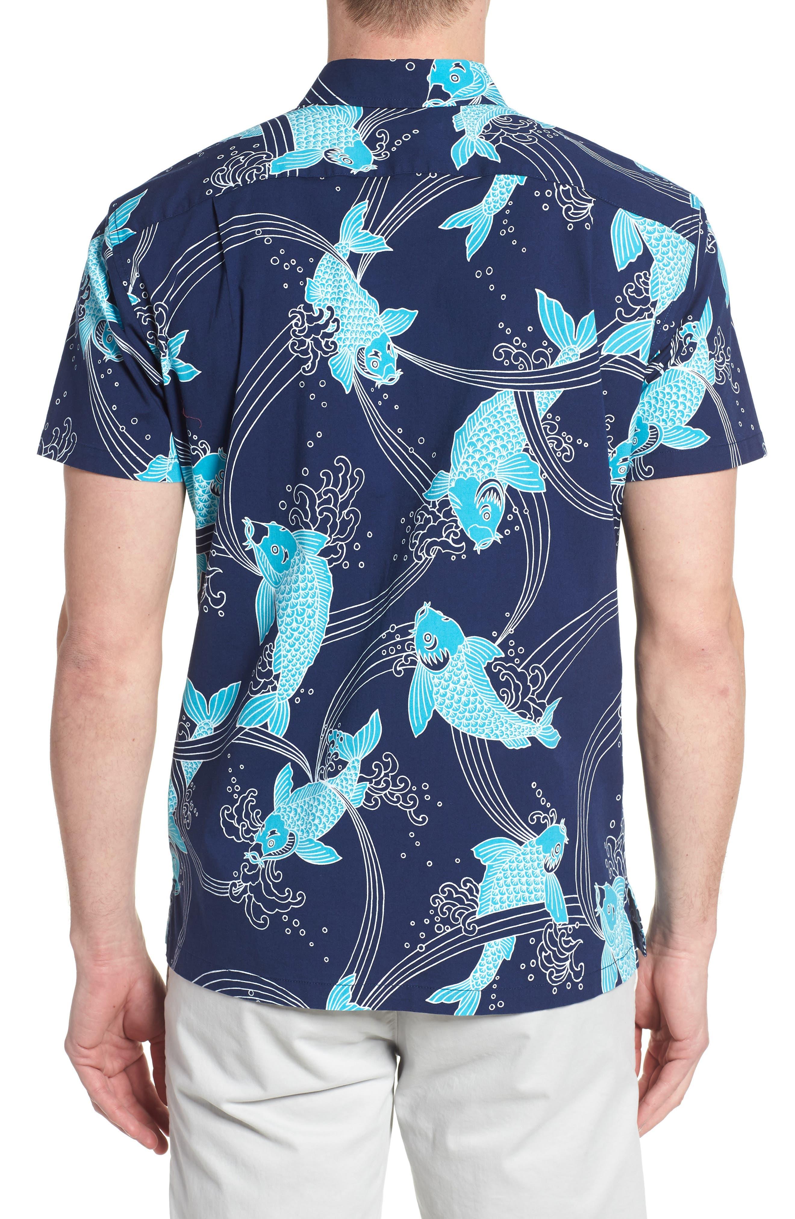 Koi Cabana Trim Fit Camp Shirt,                             Alternate thumbnail 3, color,                             Navy