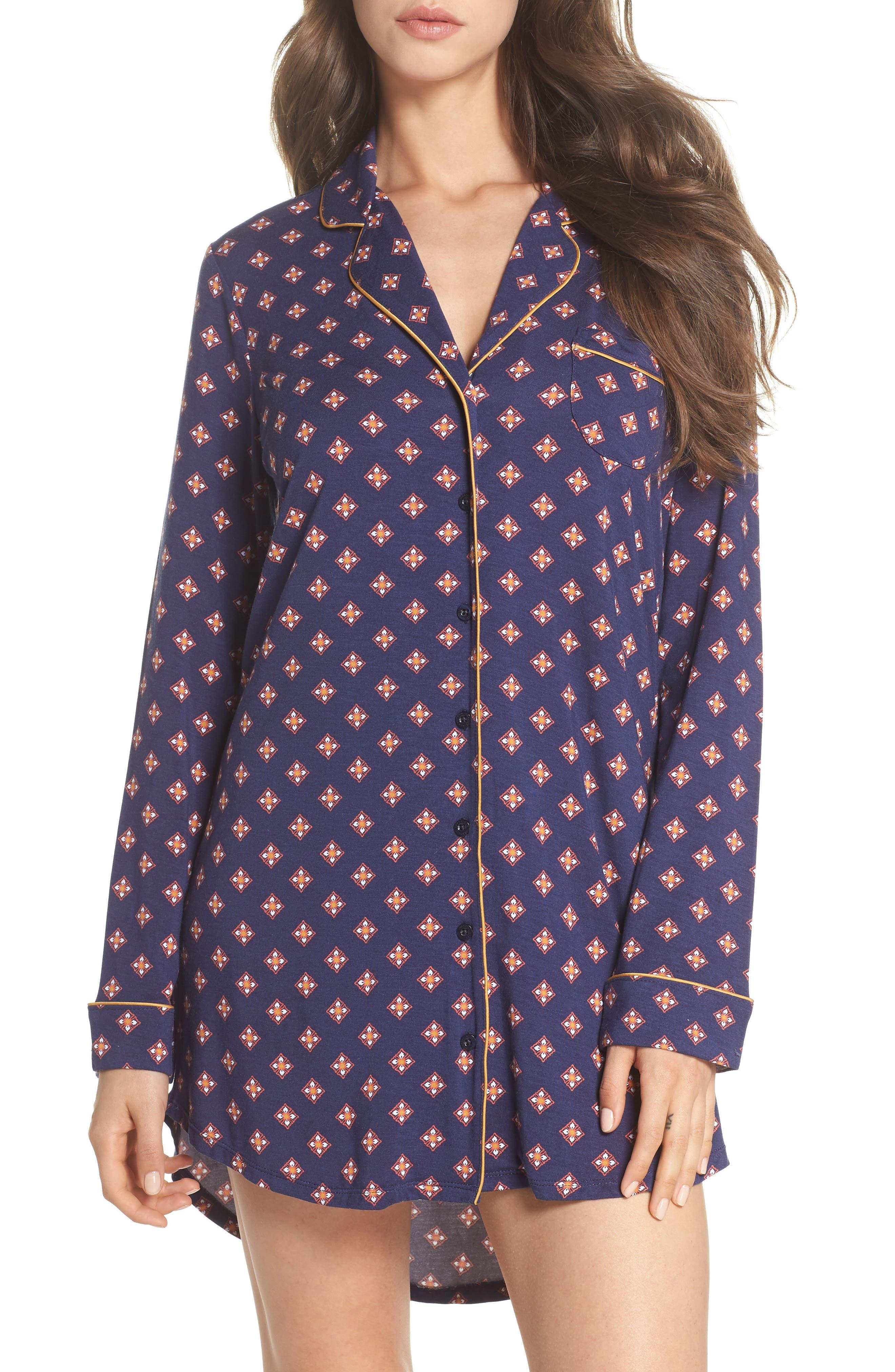 'Moonlight' Nightshirt,                         Main,                         color, Navy Peacoat Foulard