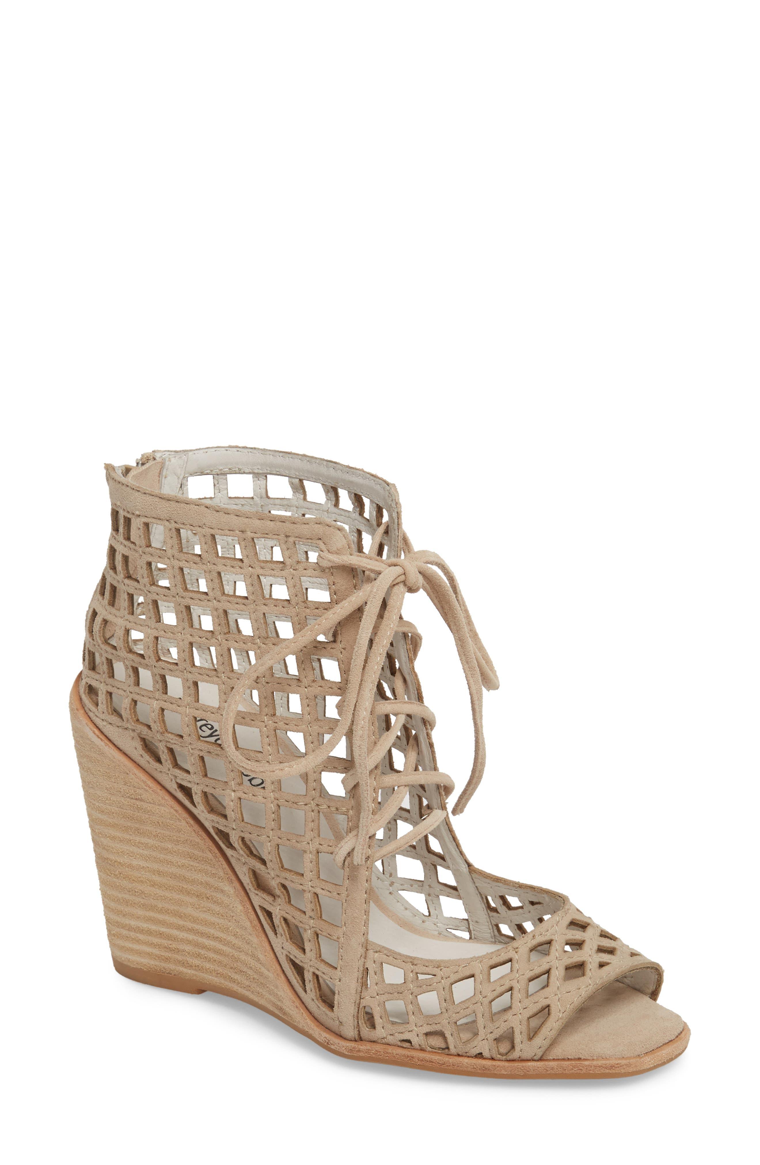 Cuadro-Hi Wedge Sandal,                         Main,                         color, Beige Suede