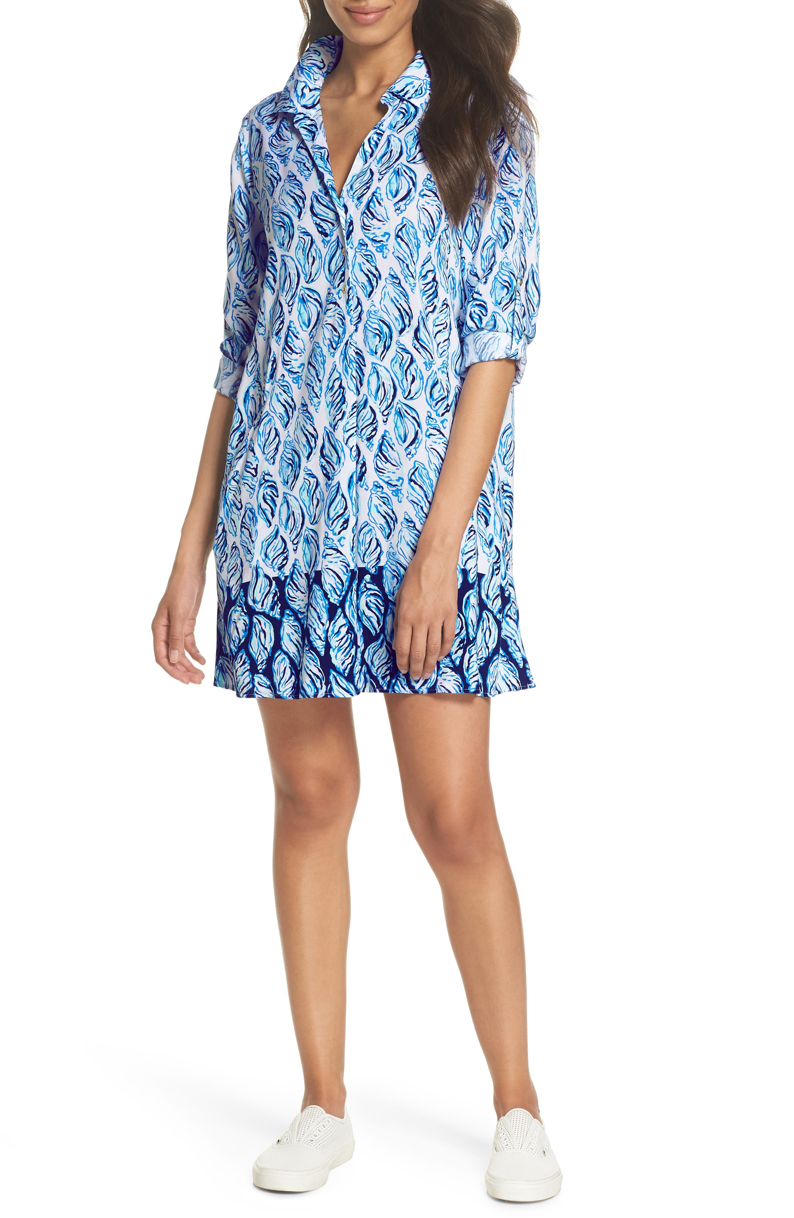 Lillith Shirtdress,                             Main thumbnail 1, color,                             Resort White Drop In