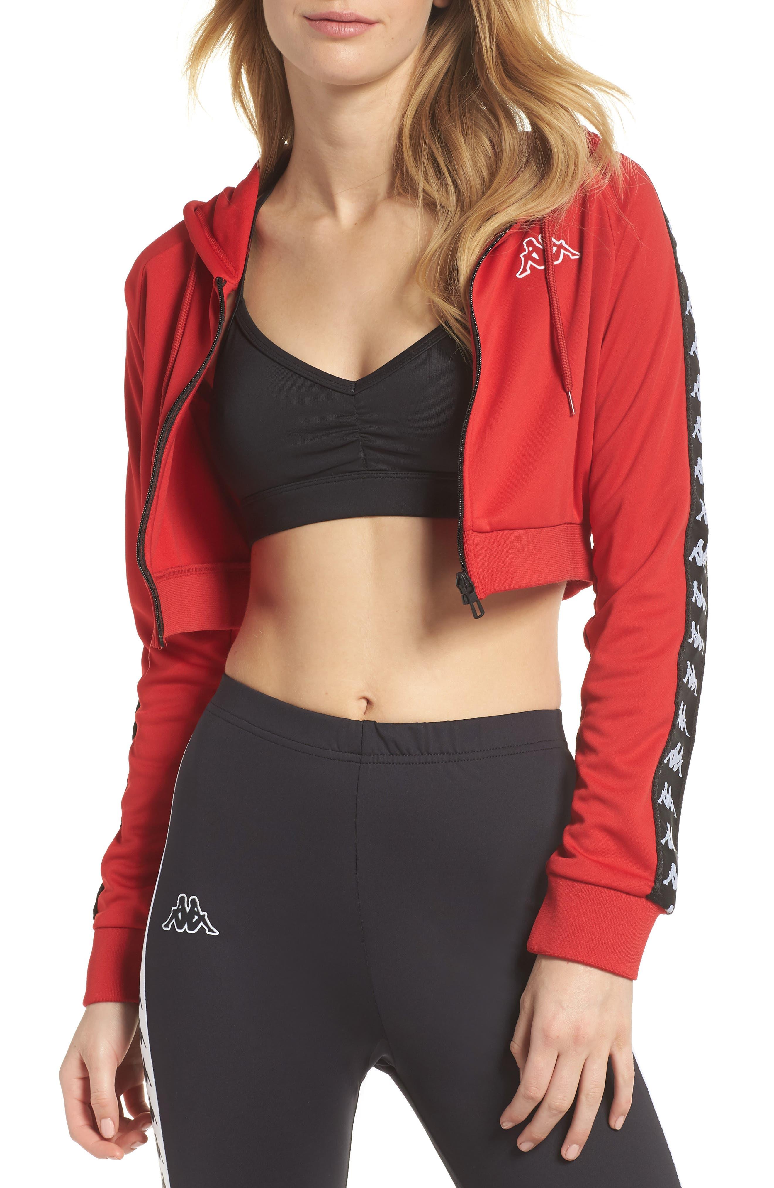 Banda Crop Jacket,                         Main,                         color, Red/ Black
