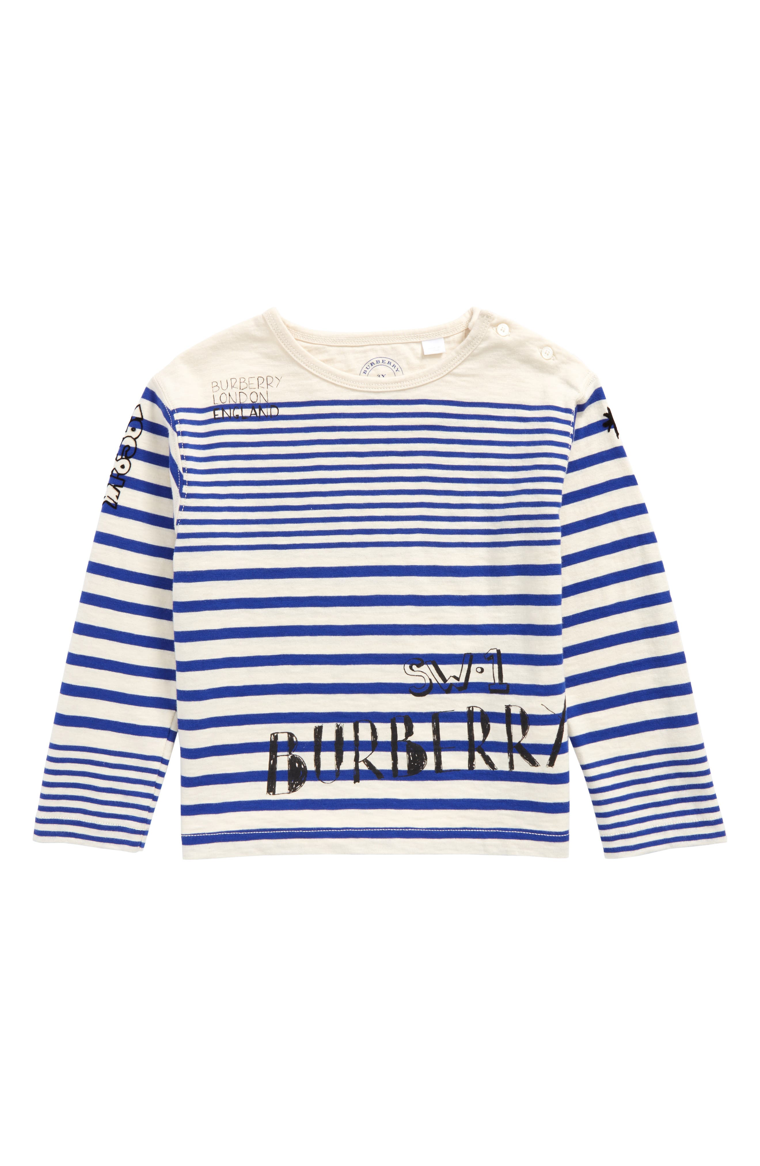 Alternate Image 1 Selected - Burberry Stripe T-Shirt (Toddler Boys)