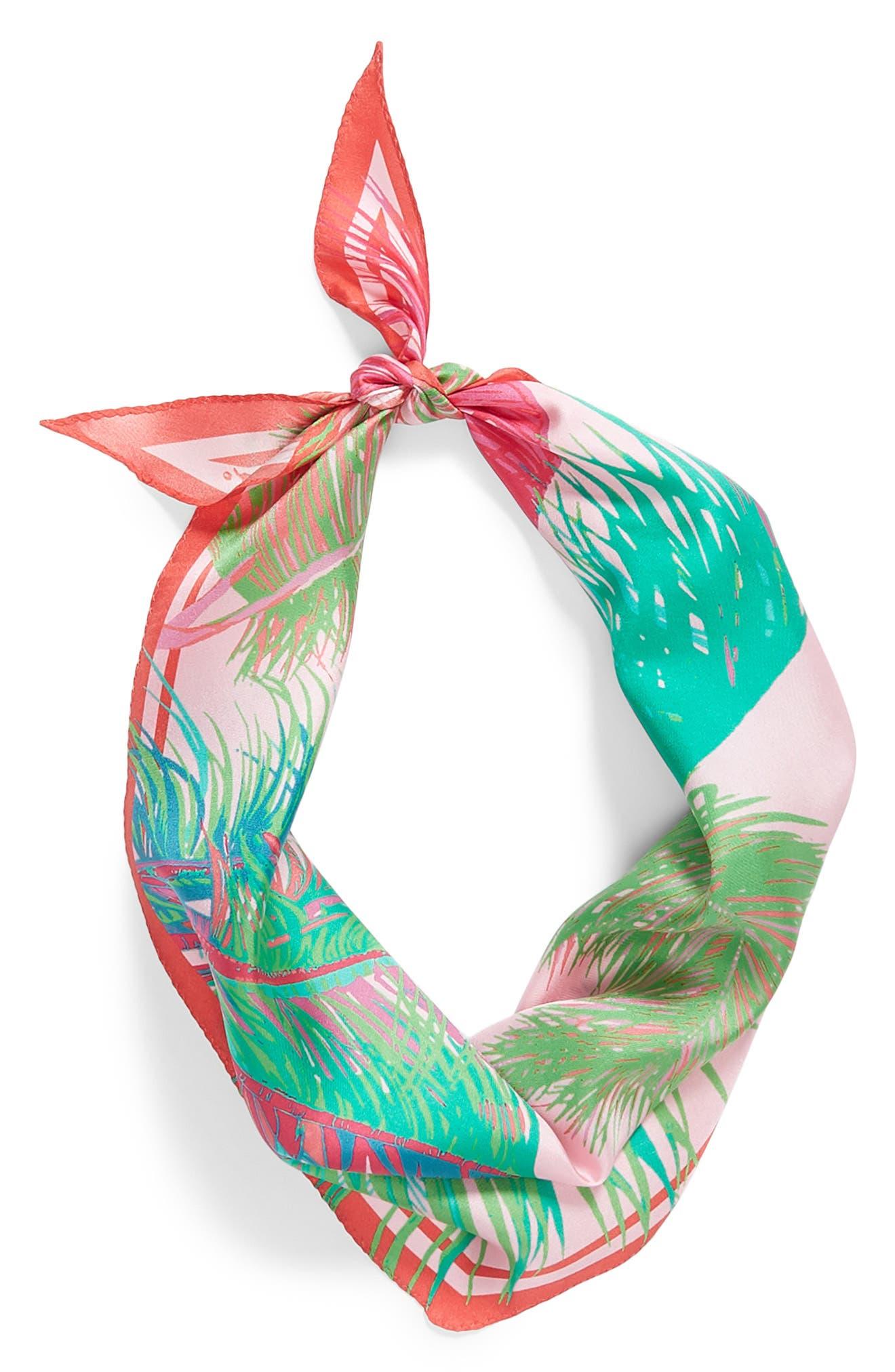Tasman Palms Diamond Cut Silk Scarf,                             Alternate thumbnail 2, color,                             Pearl Pink