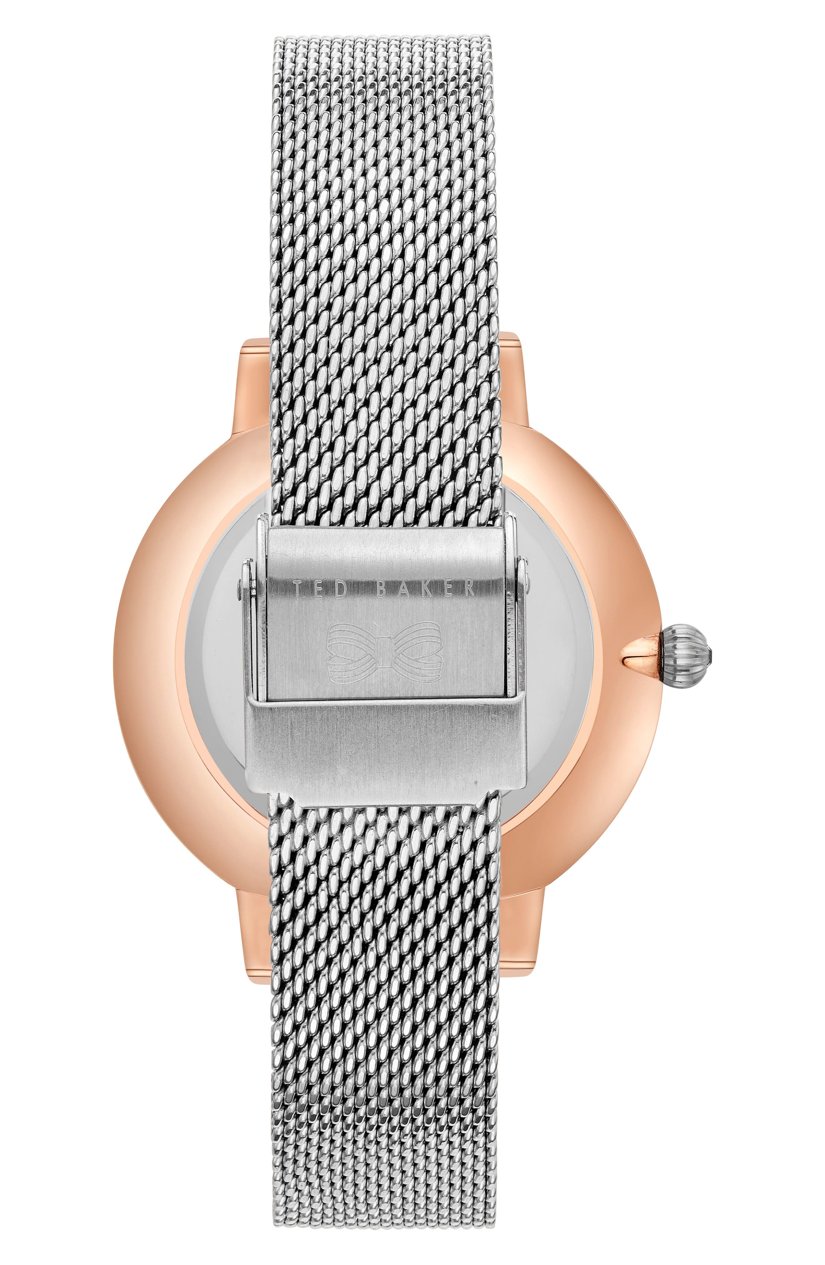 Kate Mesh Strap Watch, 38mm,                             Alternate thumbnail 2, color,                             Silver/ Mop/ Rose Gold