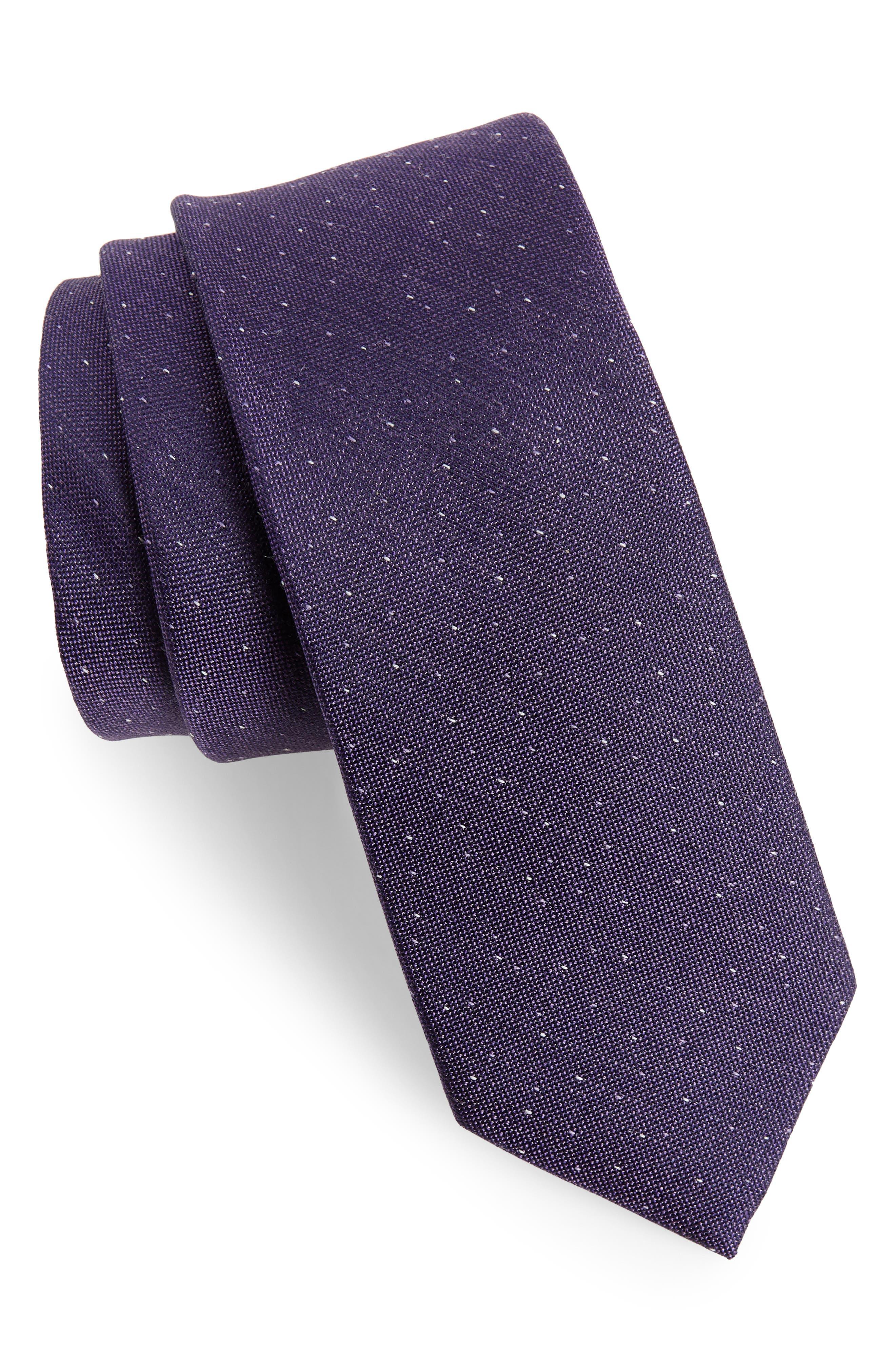 Flecked Solid Silk Tie,                         Main,                         color, Purple