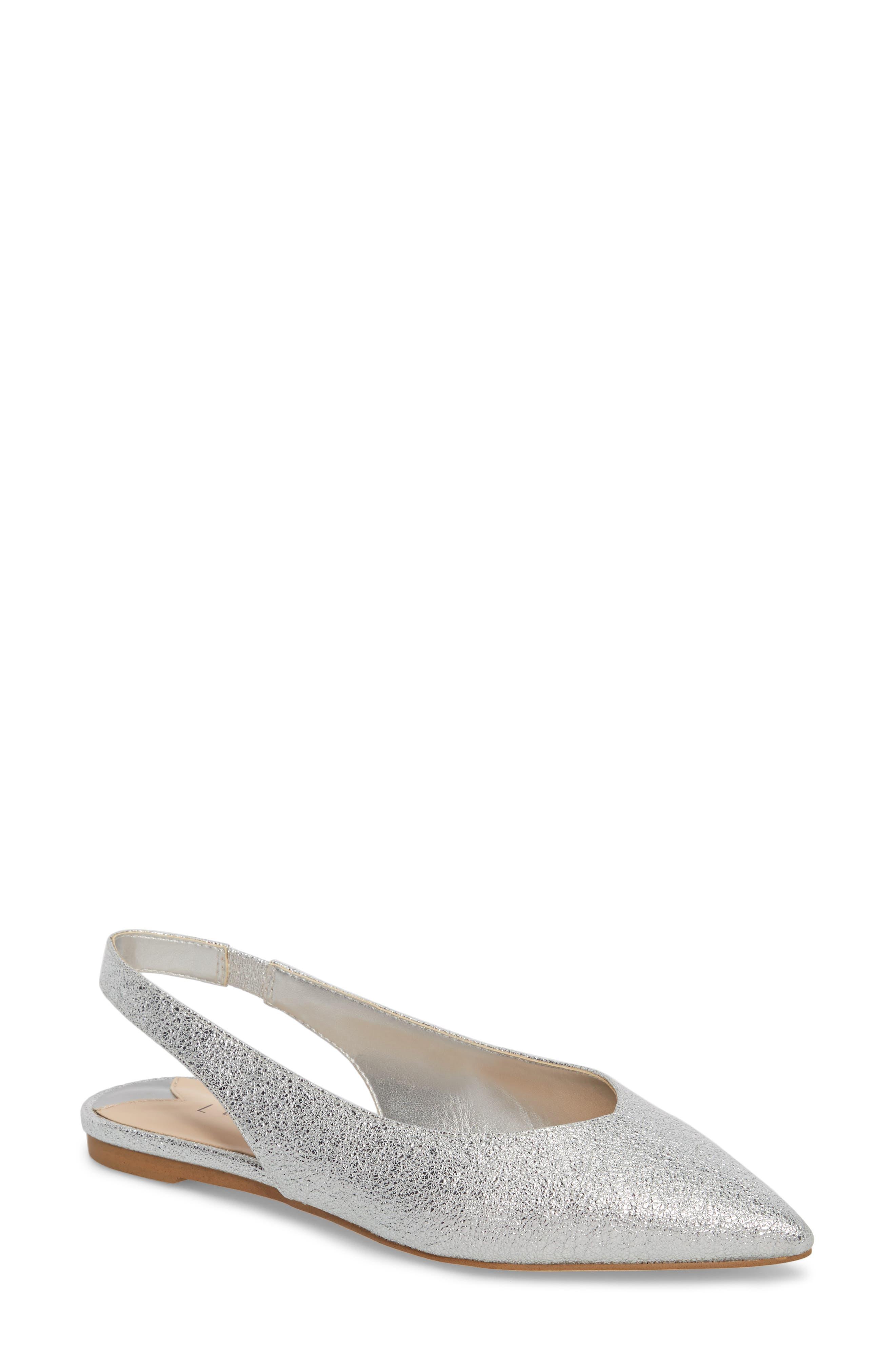 Masonn Slingback Flat,                         Main,                         color, Silver Crackle Faux Leather