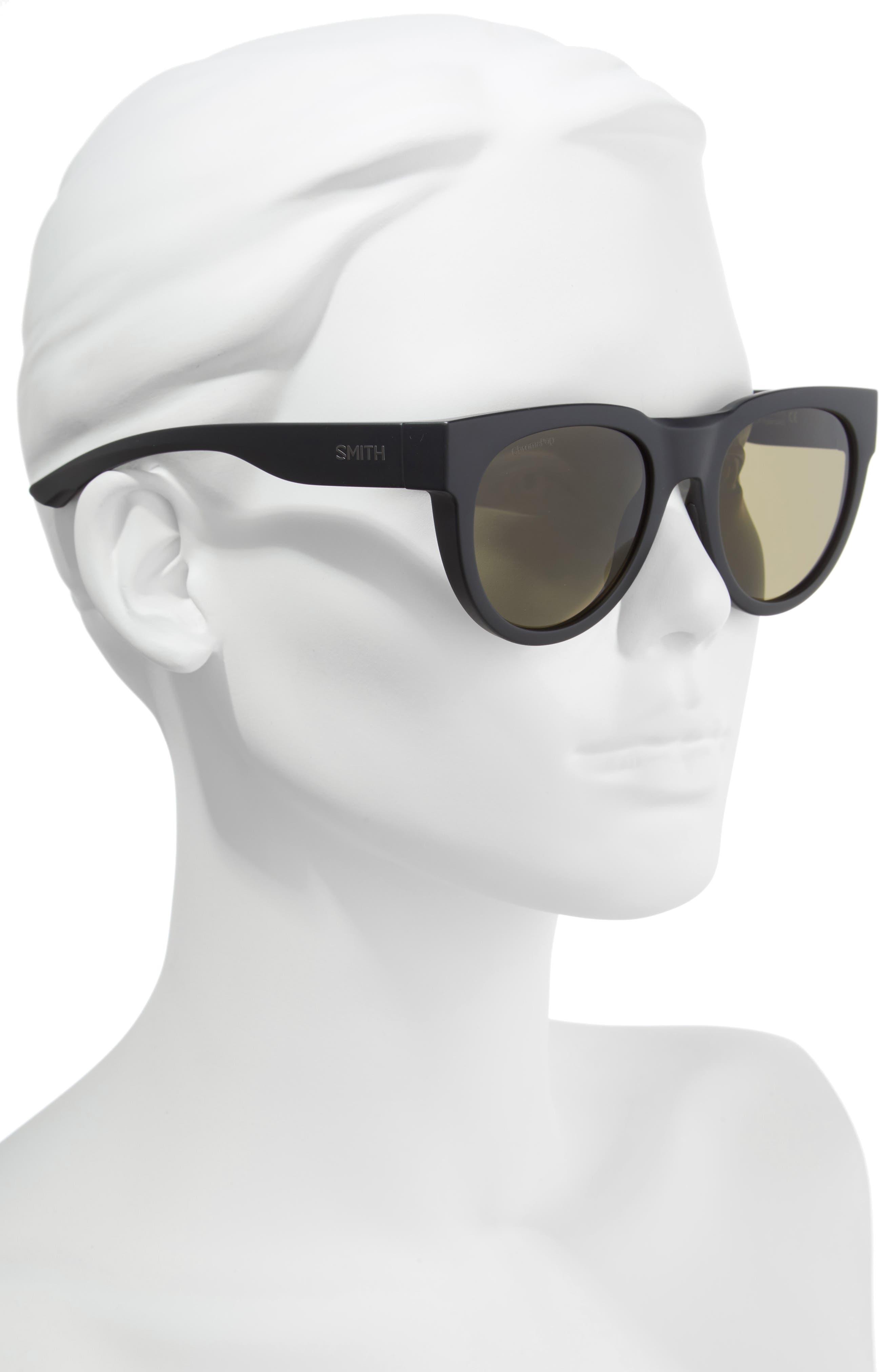 Crusader 53mm ChromaPop<sup>™</sup> Round Sunglasses,                             Alternate thumbnail 2, color,                             Matte Black