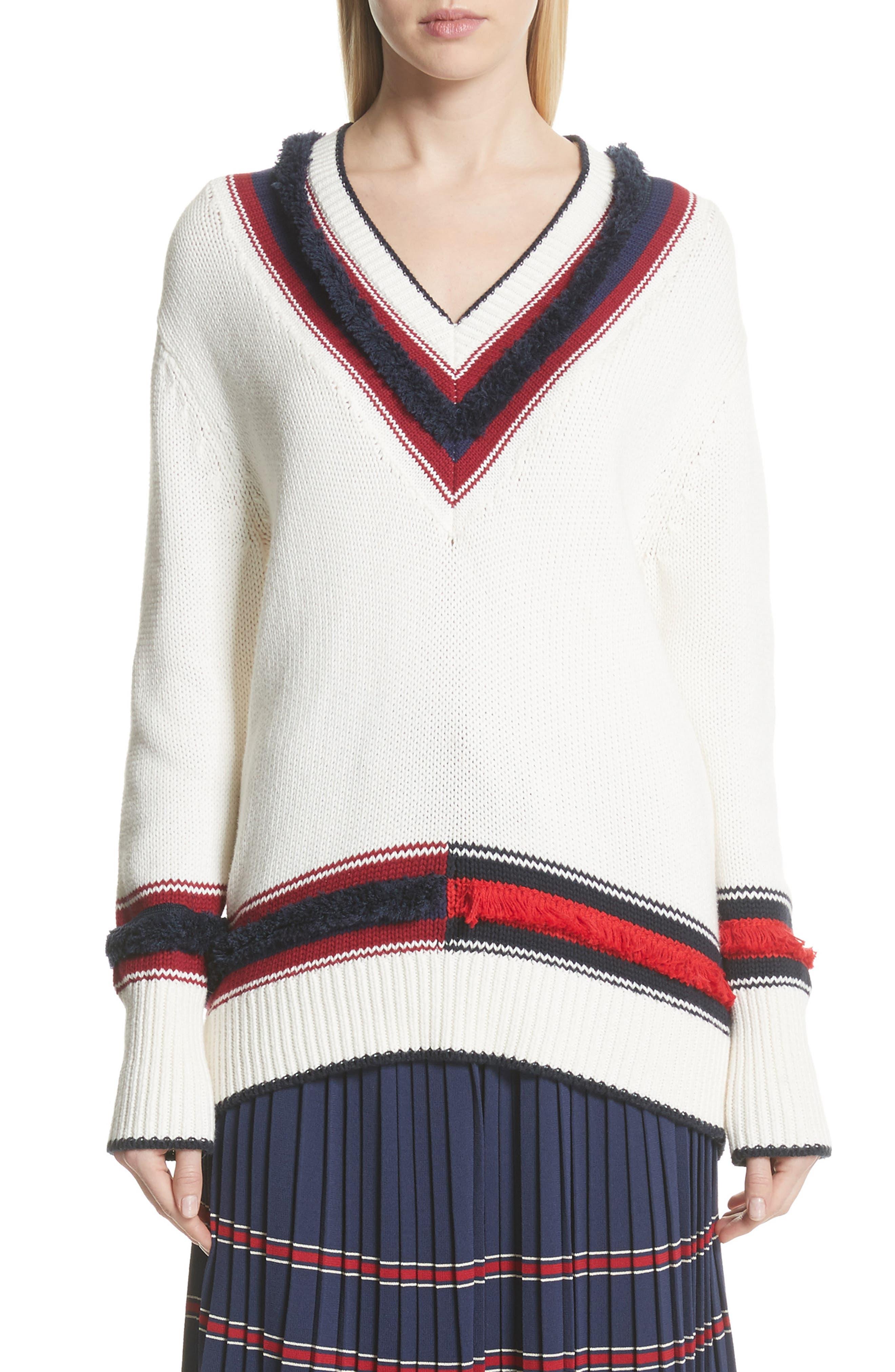 V-Neck Cotton & Cashmere Sweater,                             Main thumbnail 1, color,                             Ecru