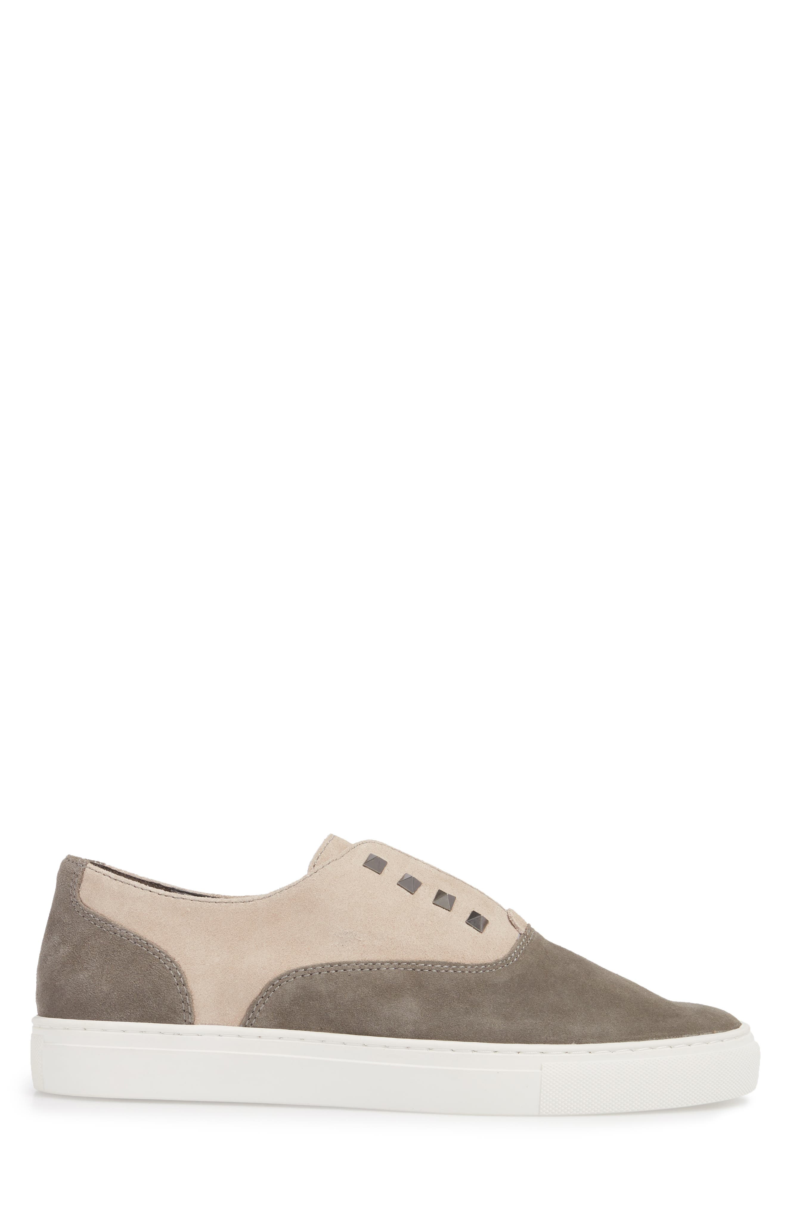Aryo Studded Laceless Sneaker,                             Alternate thumbnail 3, color,                             Chocolate/ Sand Suede