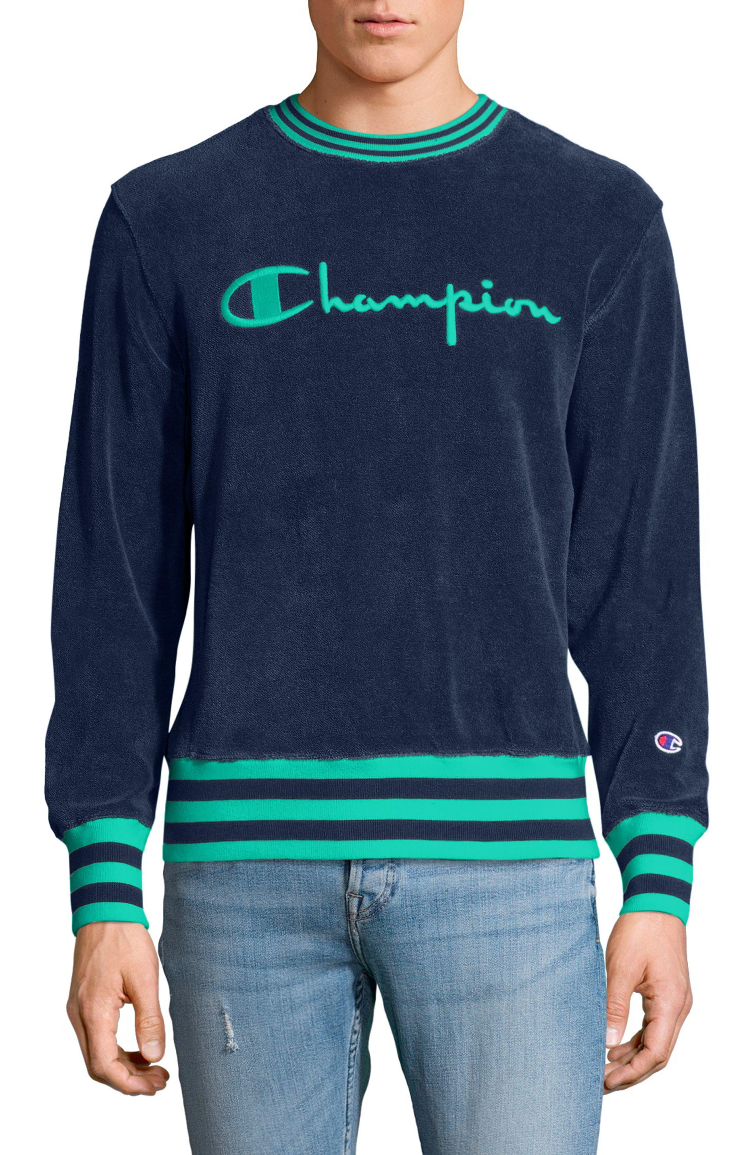 Sponge Terry Crewneck Sweatshirt,                         Main,                         color, Navy
