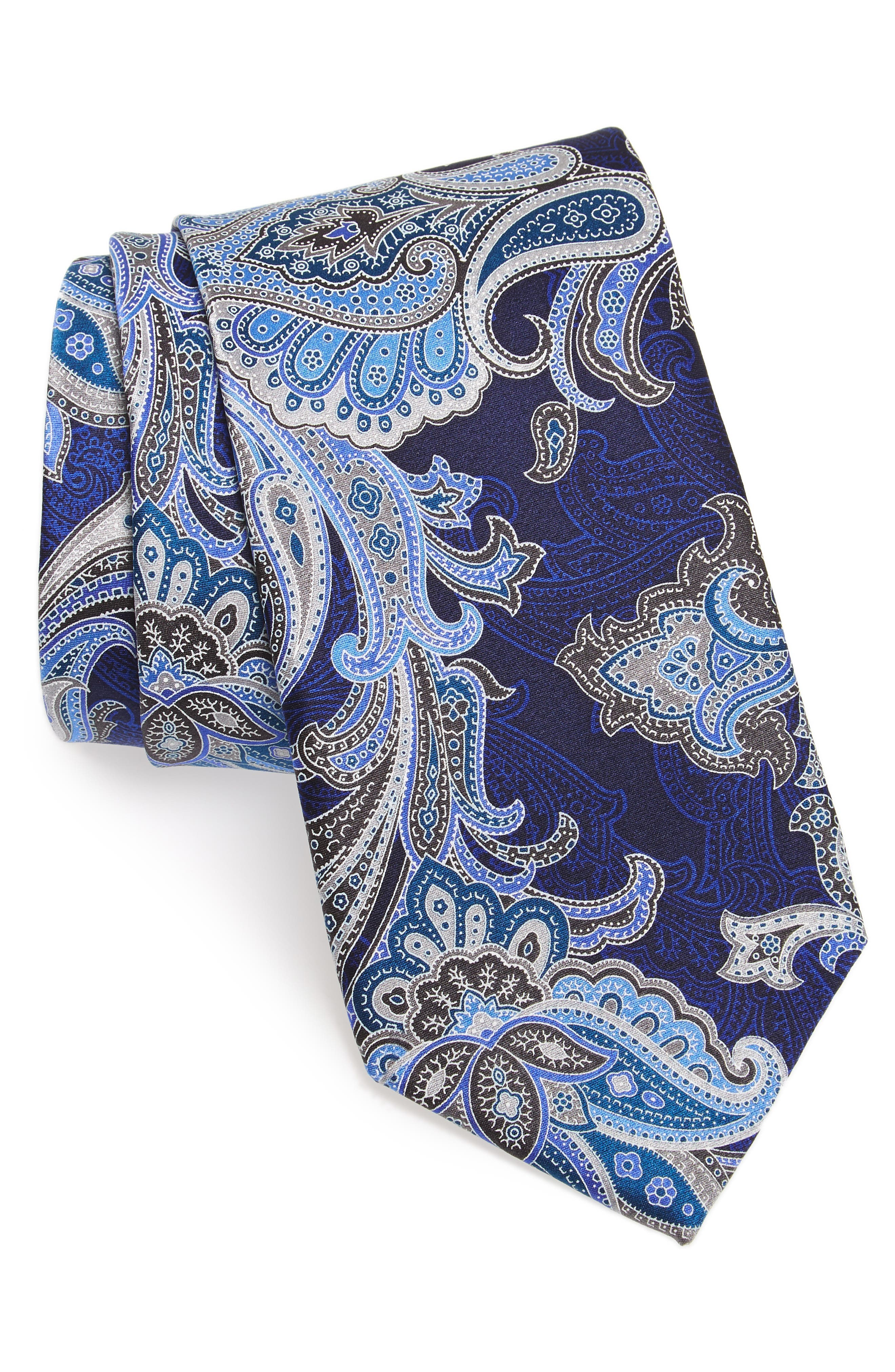 Penay Paisley Silk Tie,                             Main thumbnail 1, color,                             Grey