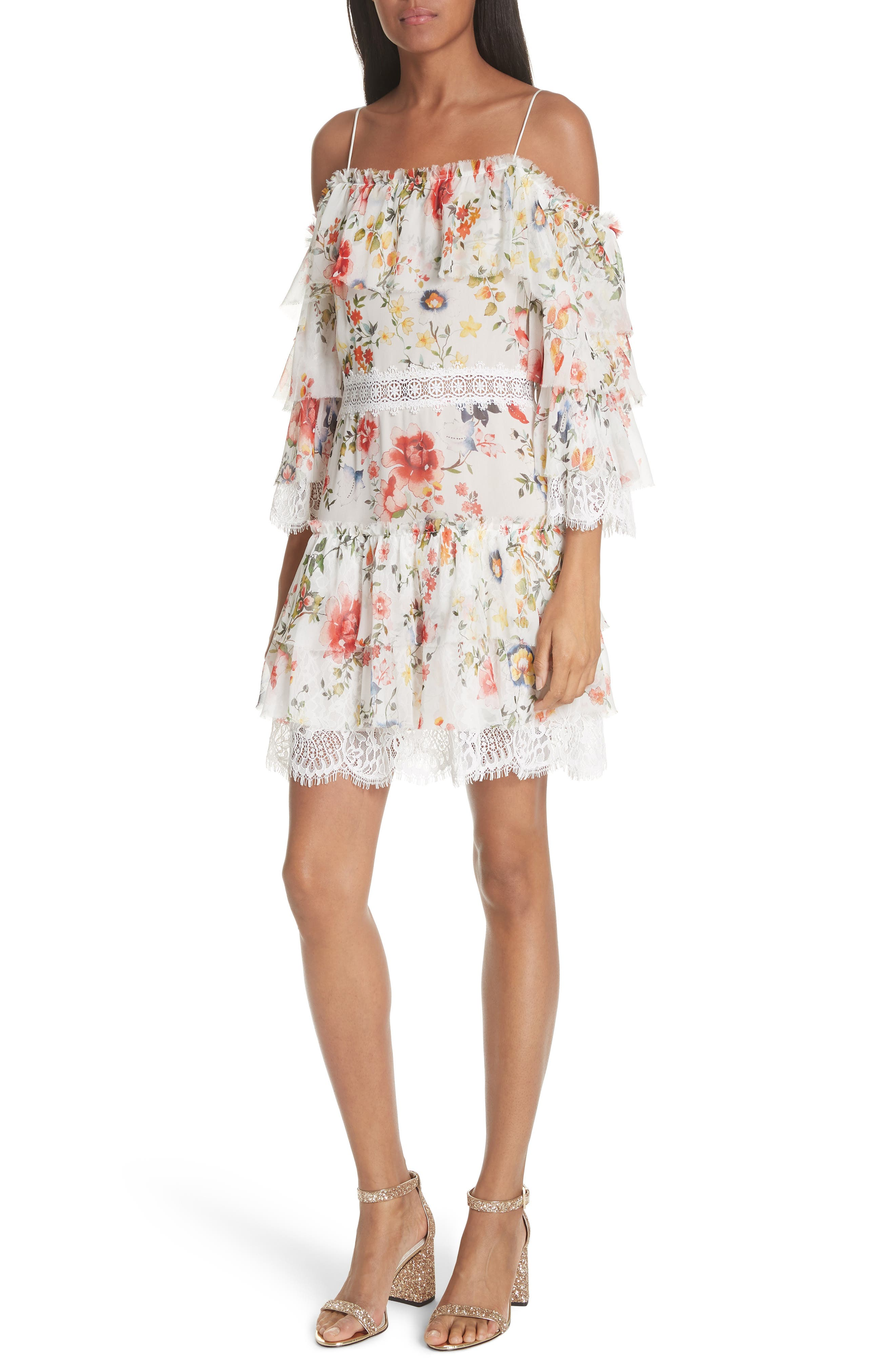 Santos Cold Shoulder Floral Silk Dress,                         Main,                         color, Floral Soiree