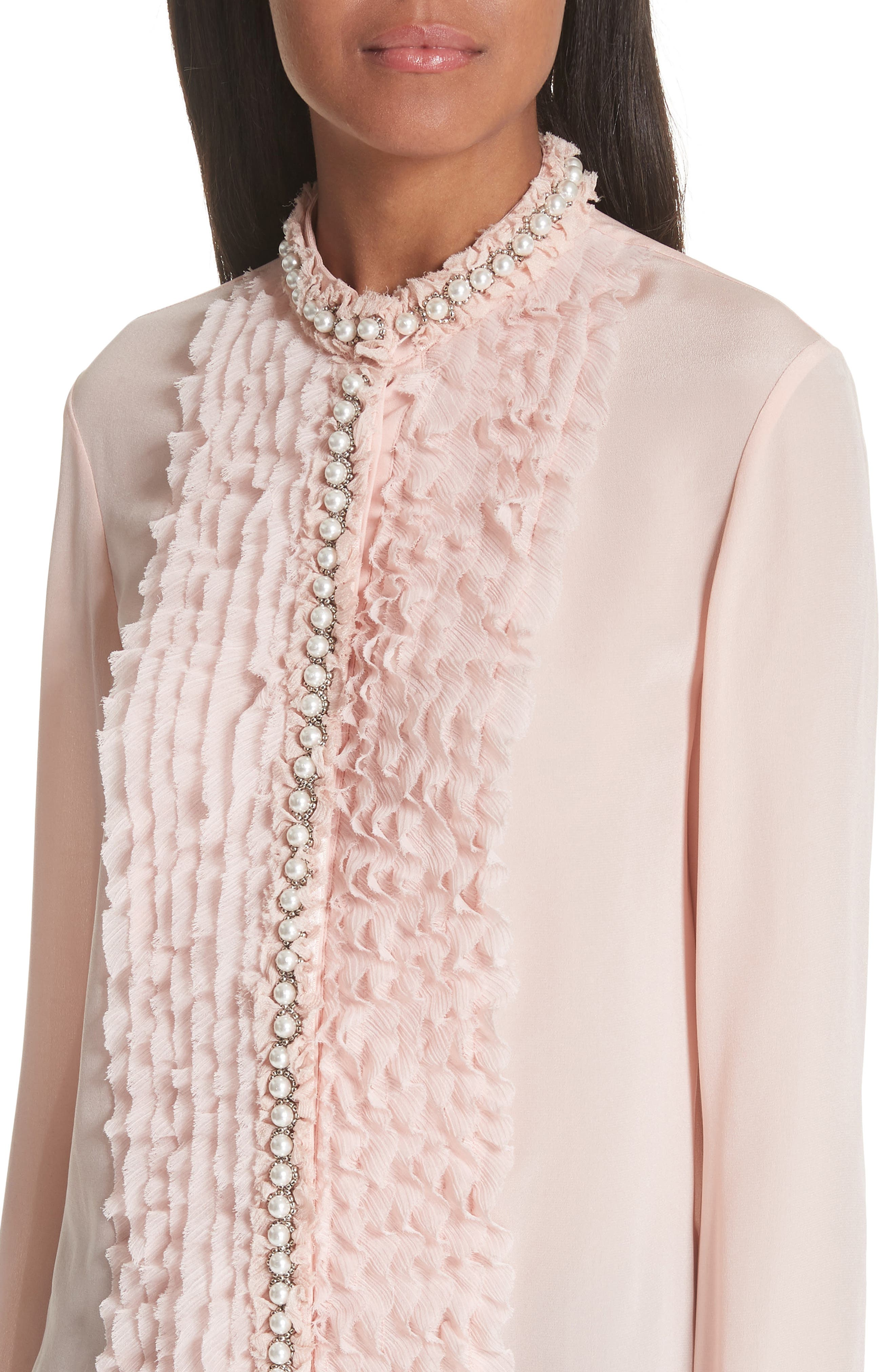 Bejeweled Button Down Silk Top,                             Alternate thumbnail 4, color,                             Blush