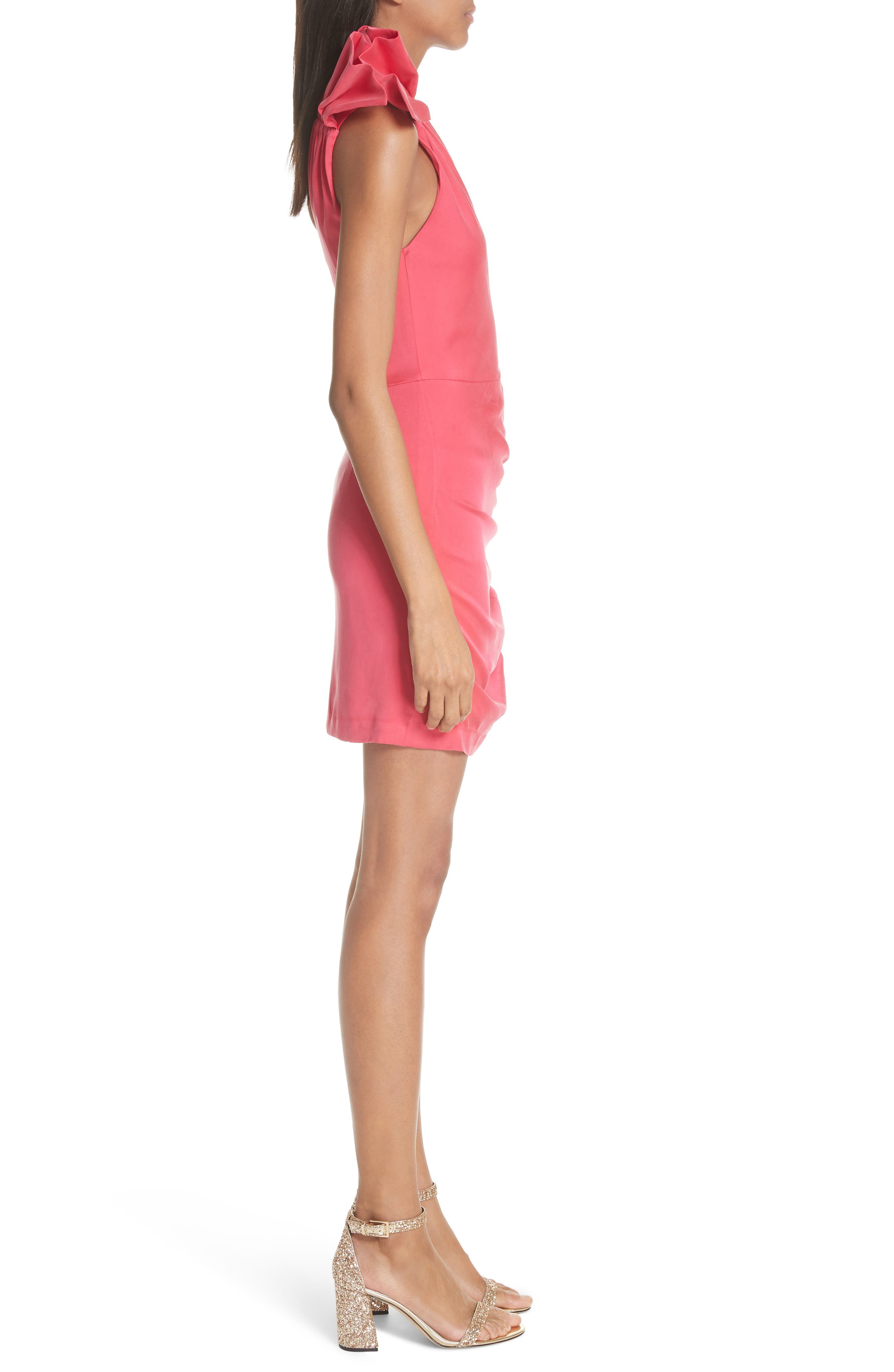 Malita One-Shoulder Fitted Mini Dress,                             Alternate thumbnail 3, color,                             Watermelon