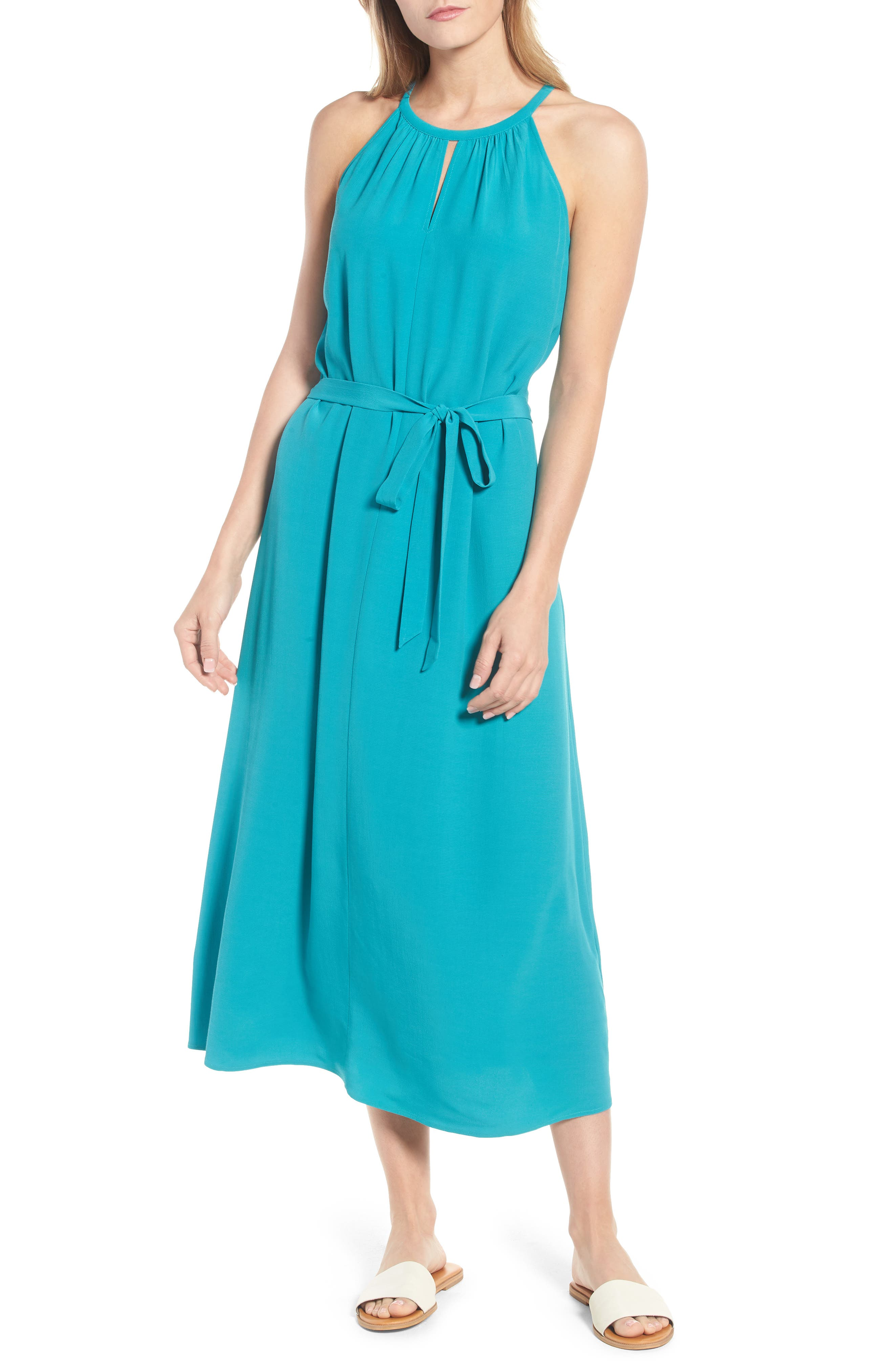 Eileen Fisher Tencel® Lyocell Blend Midi Dress (Regular & Petite)