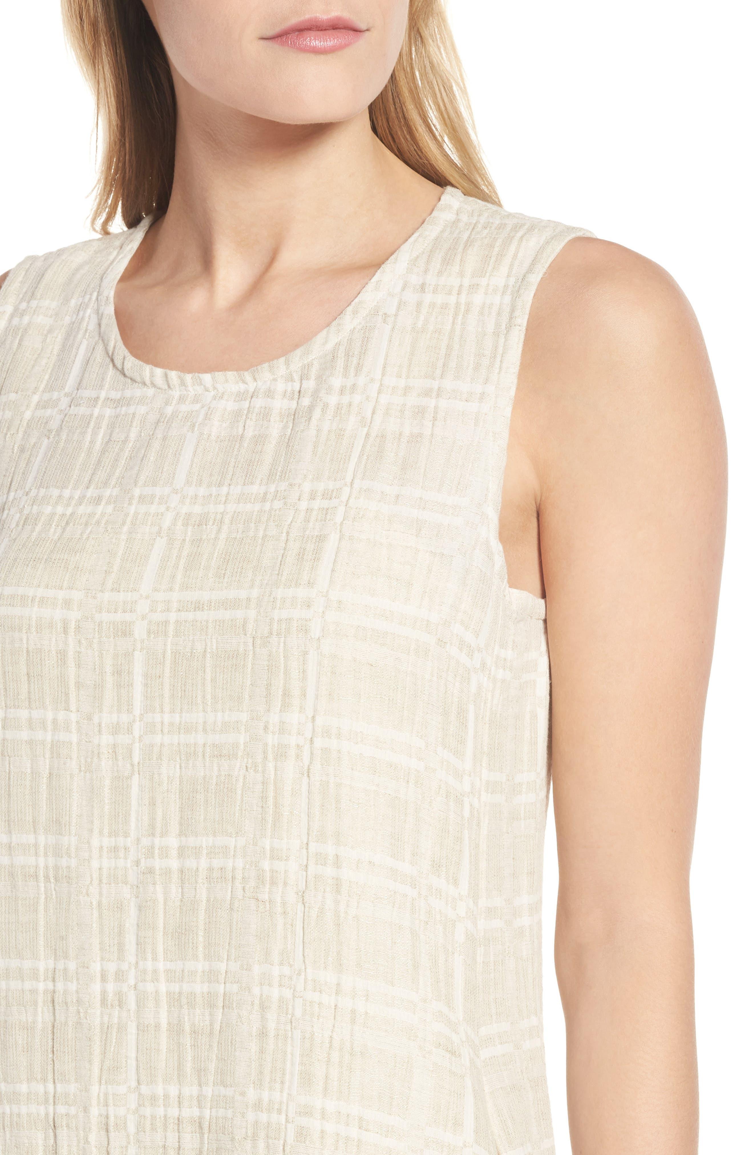 Organic Cotton & Linen Shift Dress,                             Alternate thumbnail 4, color,                             Natural