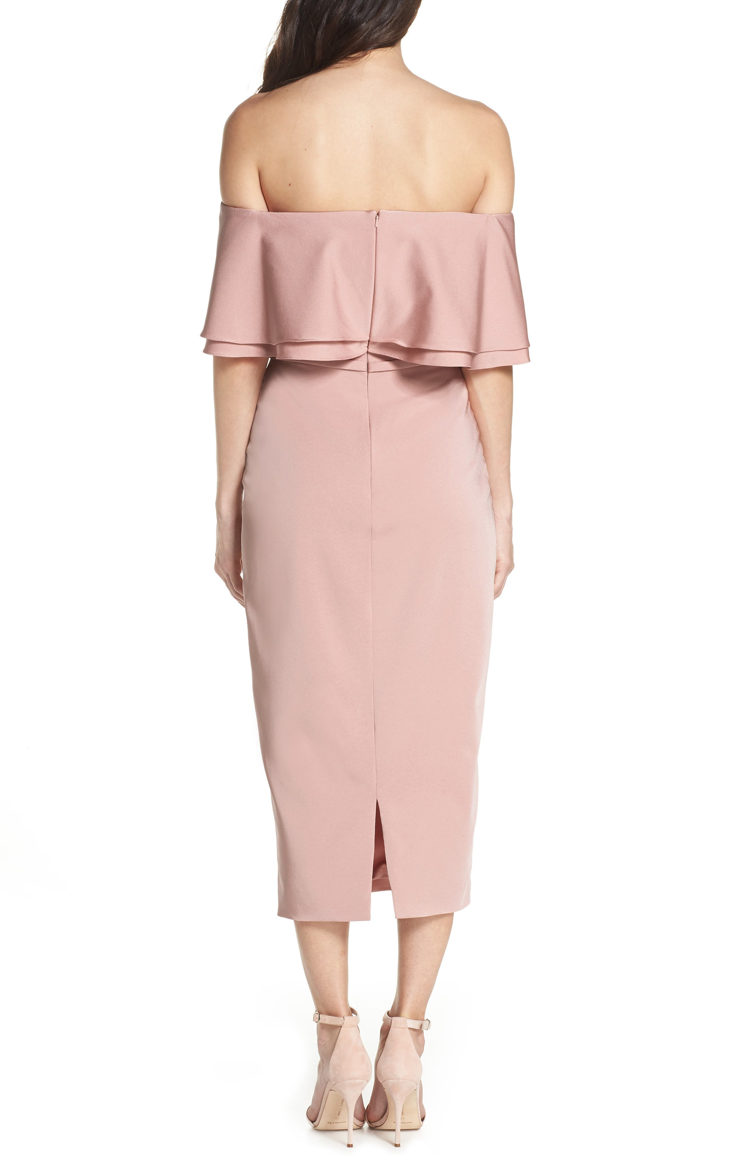 Ruffle Off the Shoulder Tea Length Dress,                             Alternate thumbnail 2, color,                             Rose