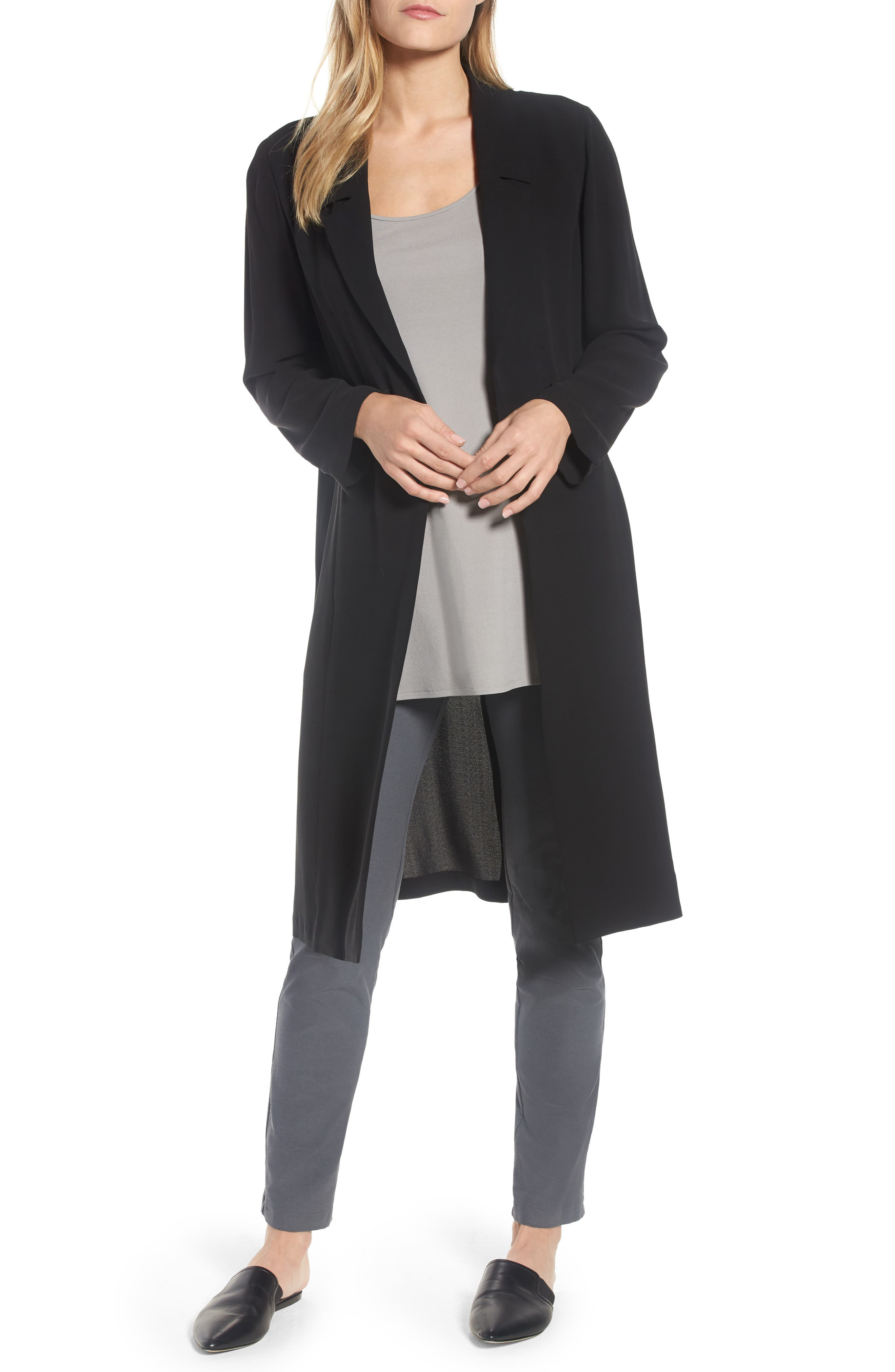 Alternate Image 1 Selected - Eileen Fisher Long Silk Jacket