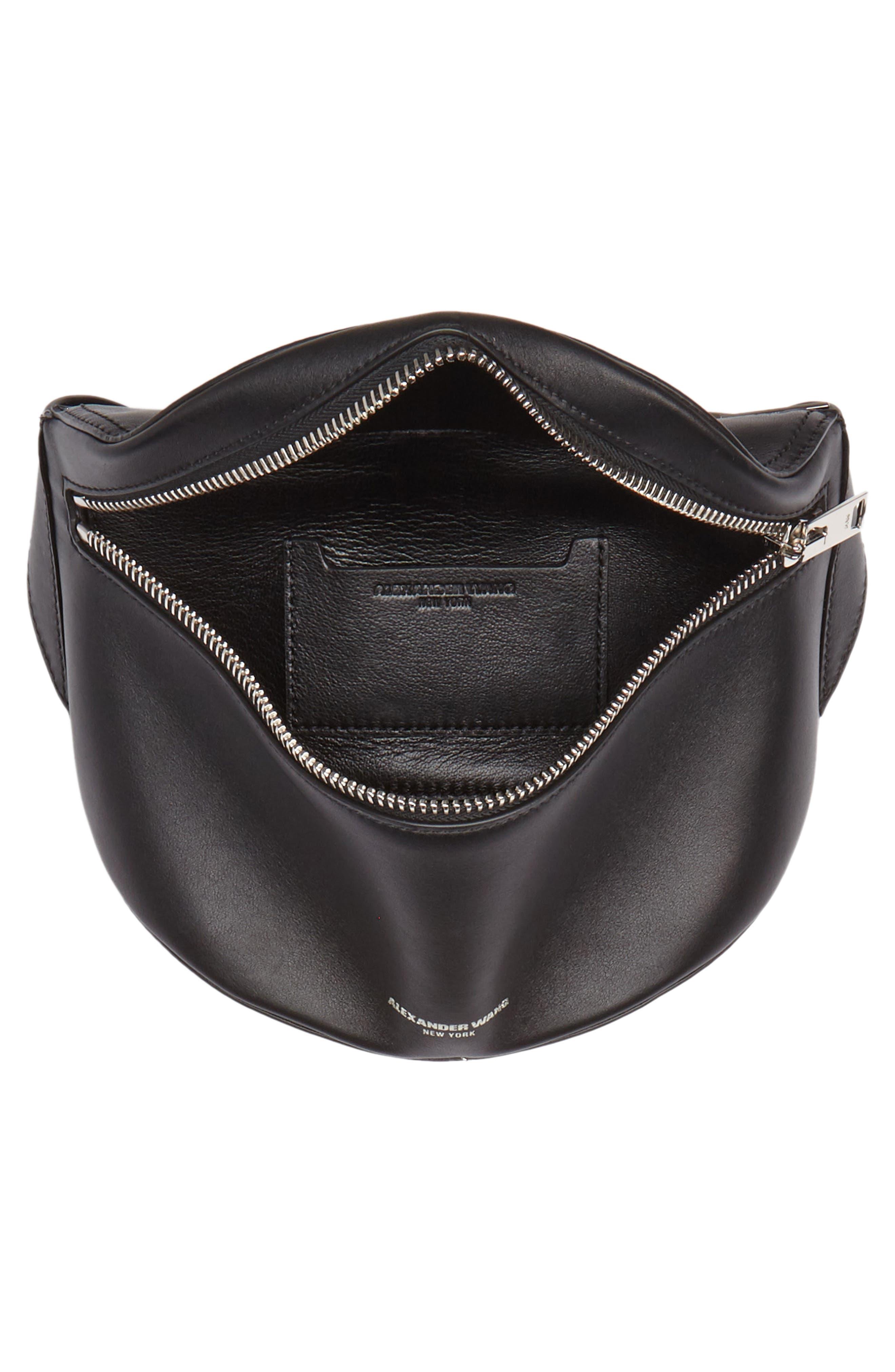 Leather Fanny Pack,                             Alternate thumbnail 5, color,                             Black