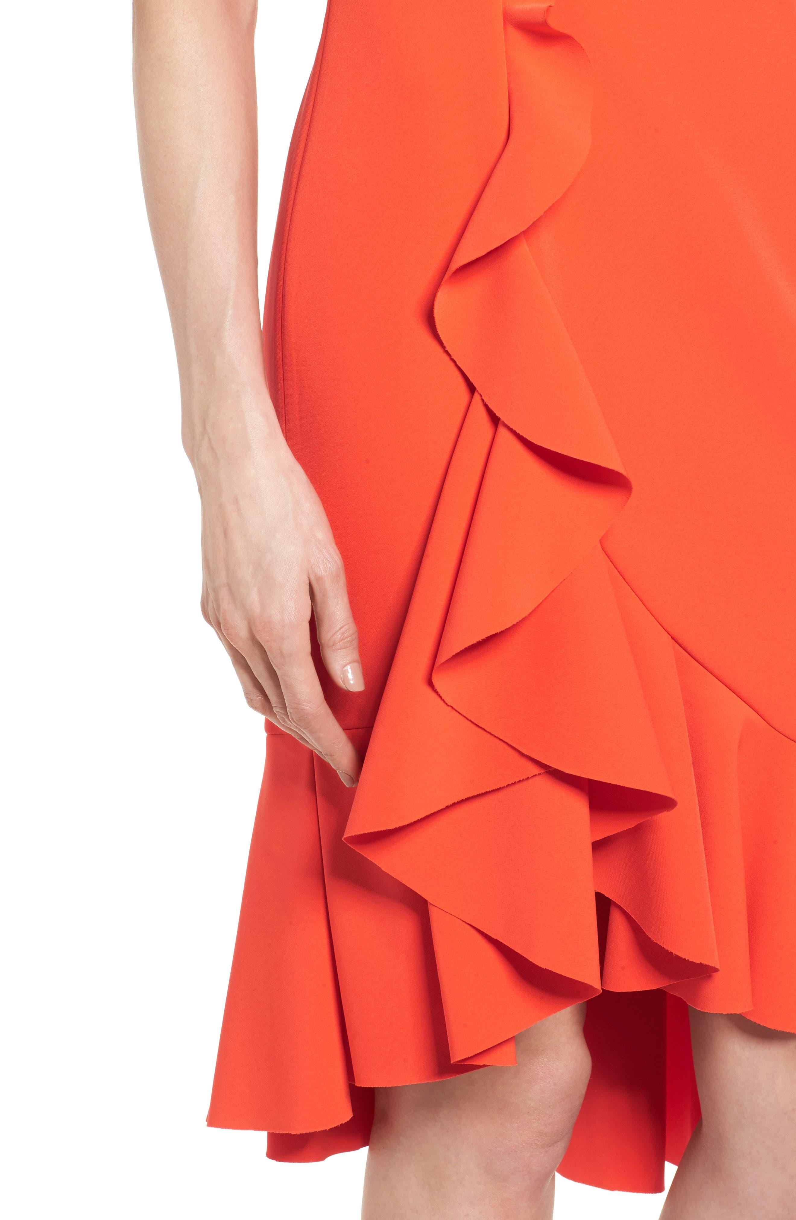Laguna Ruffle Sheath Dress,                             Alternate thumbnail 4, color,                             Orange
