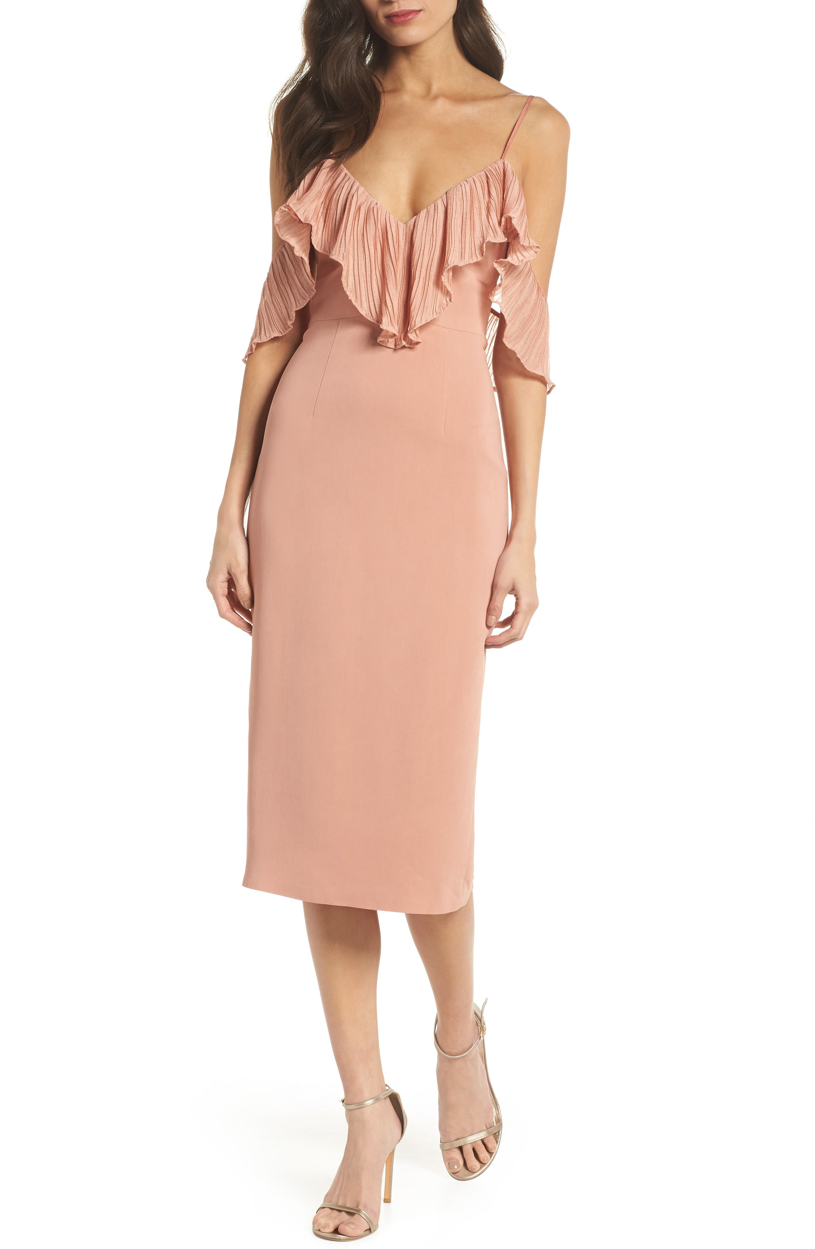 Charm Cold Shoulder Sheath Dress,                             Main thumbnail 1, color,                             Misty Rose
