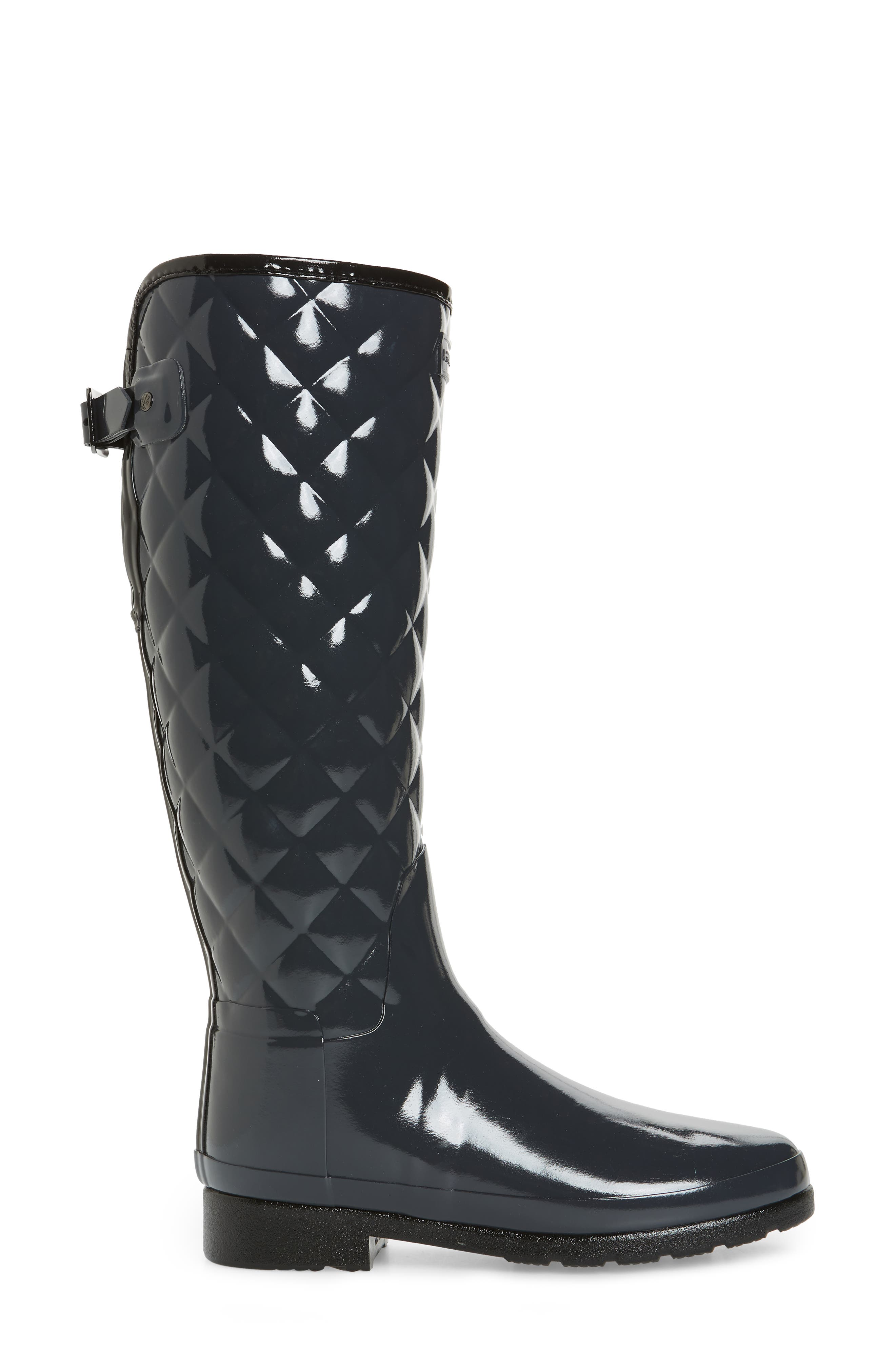 Original Refined High Gloss Quilted Rain Boot,                             Alternate thumbnail 3, color,                             Dark Slate
